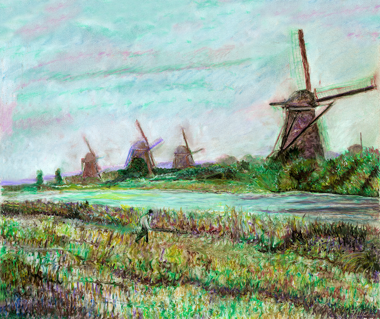 """""""Kinderdijk Windmills"""" - Oil Pastel, Private collection on Jim Lahnala Rick Wright.Giclee Limited Edition and canvas prints are available. Please visit the prints gallery."""
