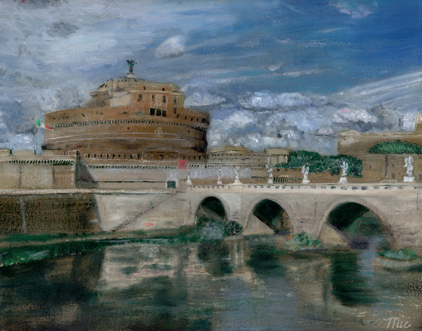 Castel Sant'Angelo - Oil on Italian panel, Private Collection Butterworth Hospital, Grand Rapids, Michigan.Giclee Limited Edition and canvas prints are available. Please visit the prints gallery.