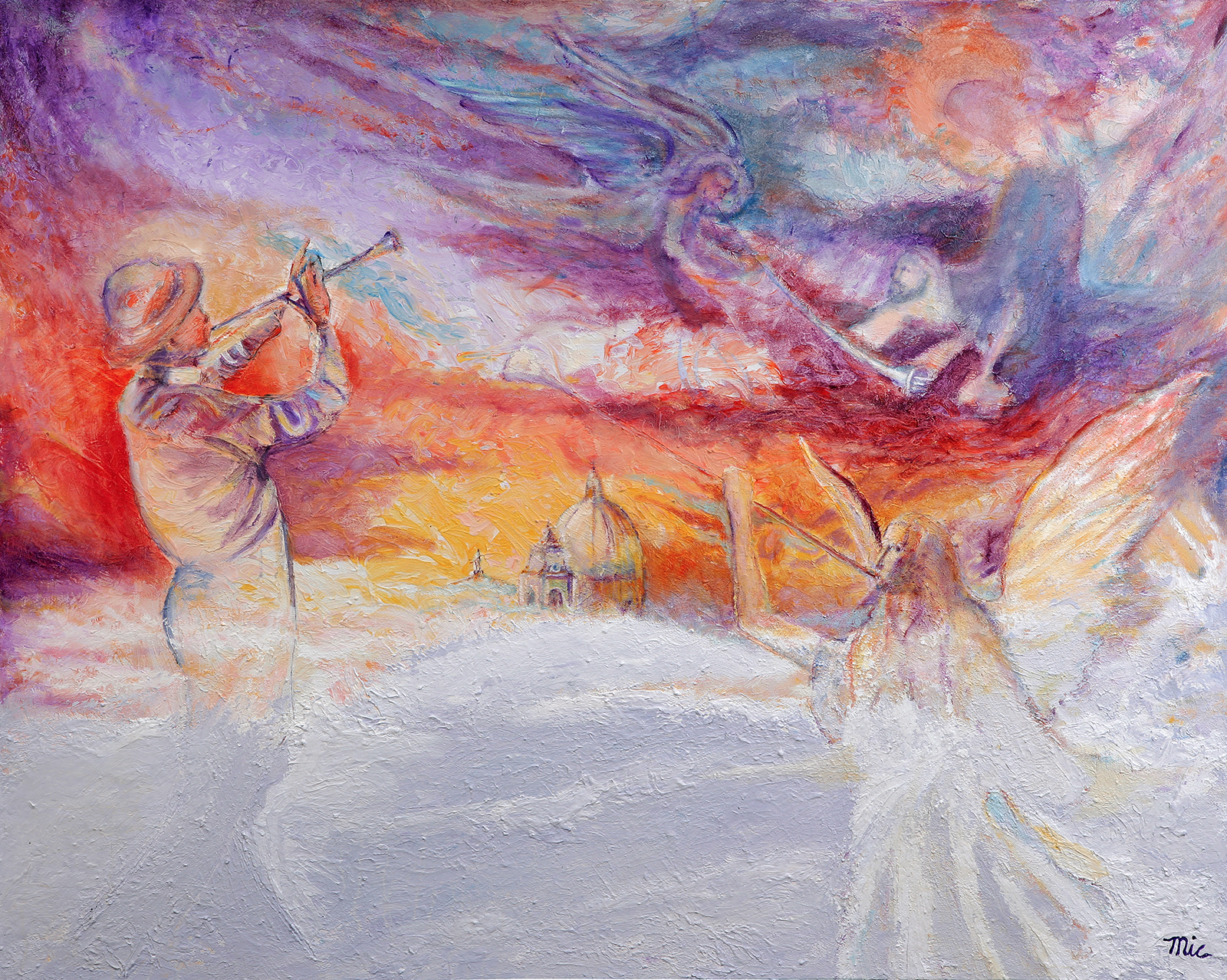 The Guarding Angels - Oil on Italian canvas, Private Collection Grace Reformed Church, Wyoming Michigan.Giclee Limited Edition and canvas prints are available. Please visit the prints gallery.