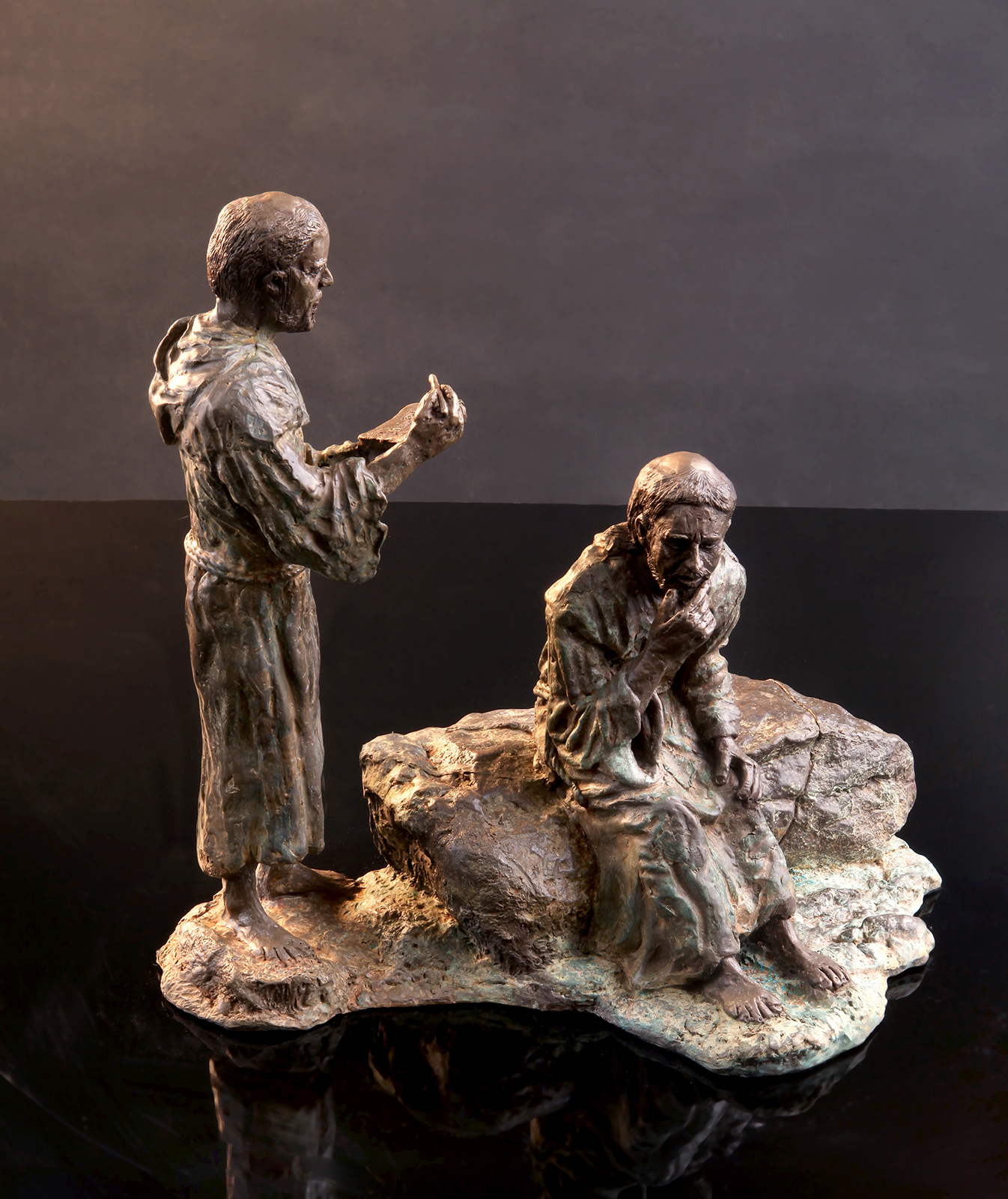 Francis and Brother Leone - Cold Cast bronze $2,500.   Cold Cast Bronze stone $1,200Replicas hand made by Mic. To purchase please Call or email Mic.