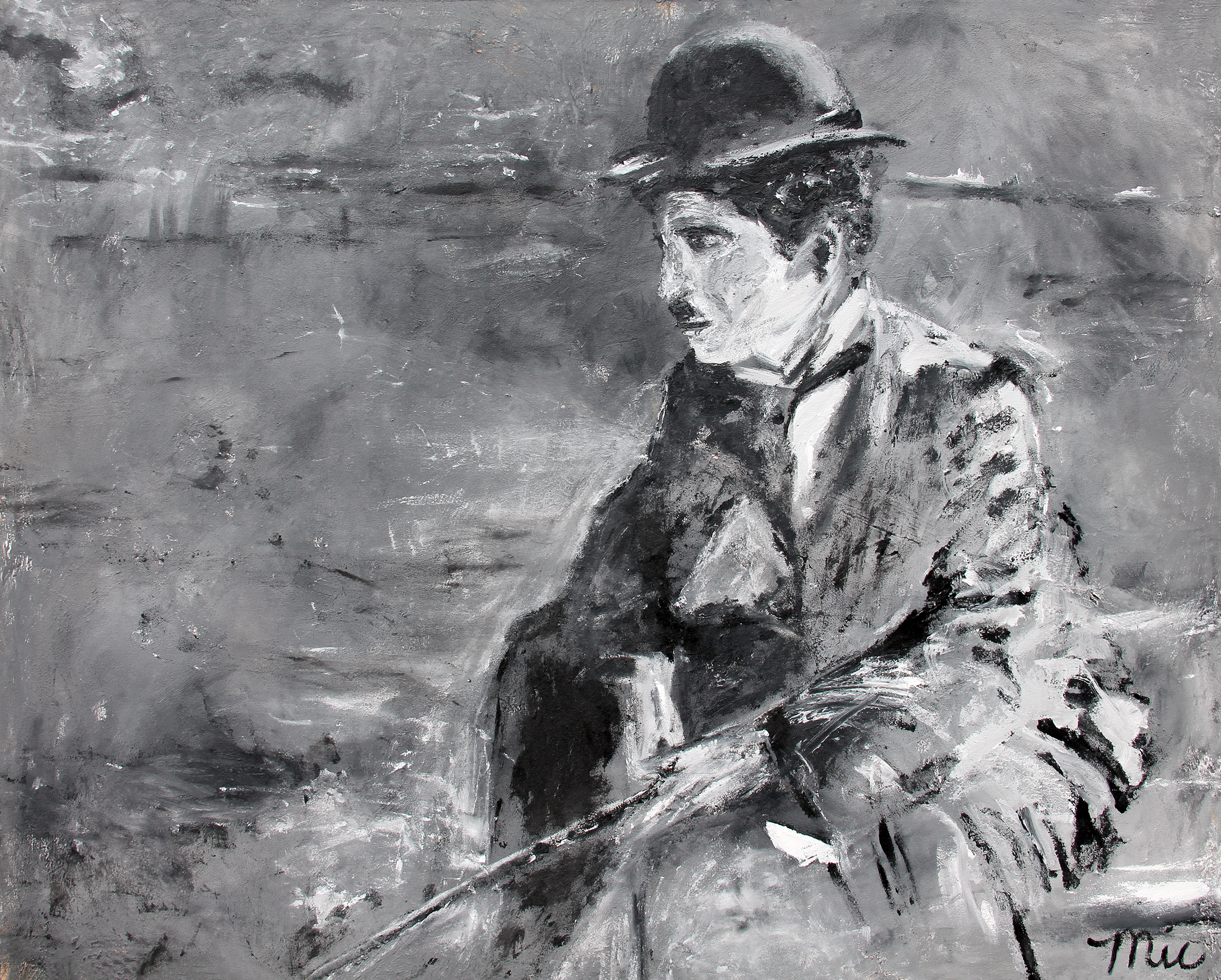 """All Alone"" Charlie Chaplin - Private Collection of Ulrika Hart.Giclee Limited Edition and canvas prints are available. Please visit the prints gallery."