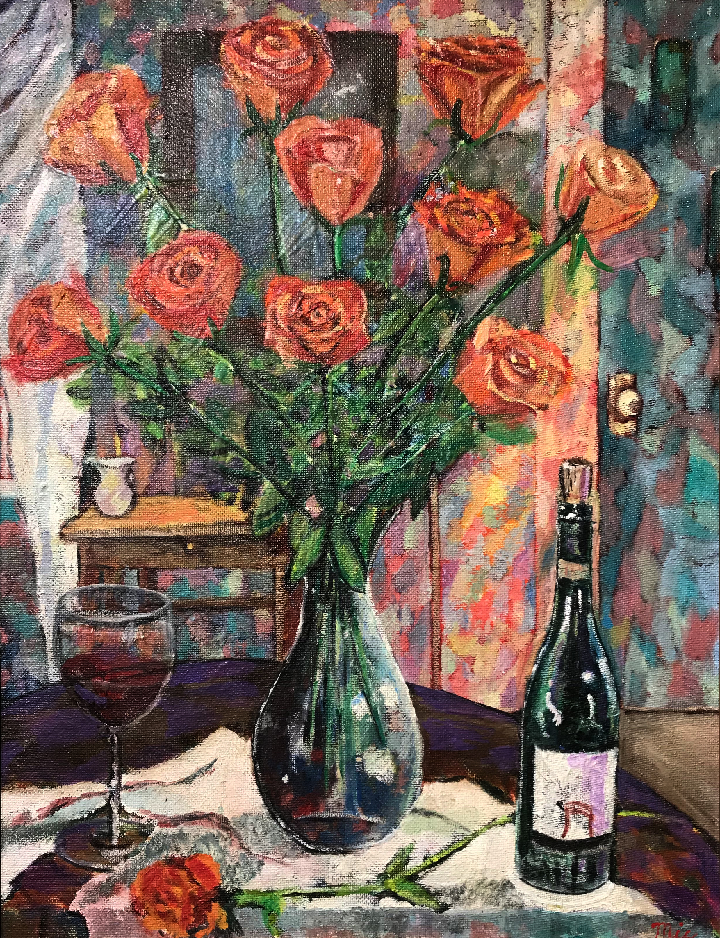 Orange Roses and Sagrantino di MonteFalco - Oil; on panel Private collection Cascade Art GalleryGiclee Limited Edition and canvas prints are available. Please visit the prints gallery.
