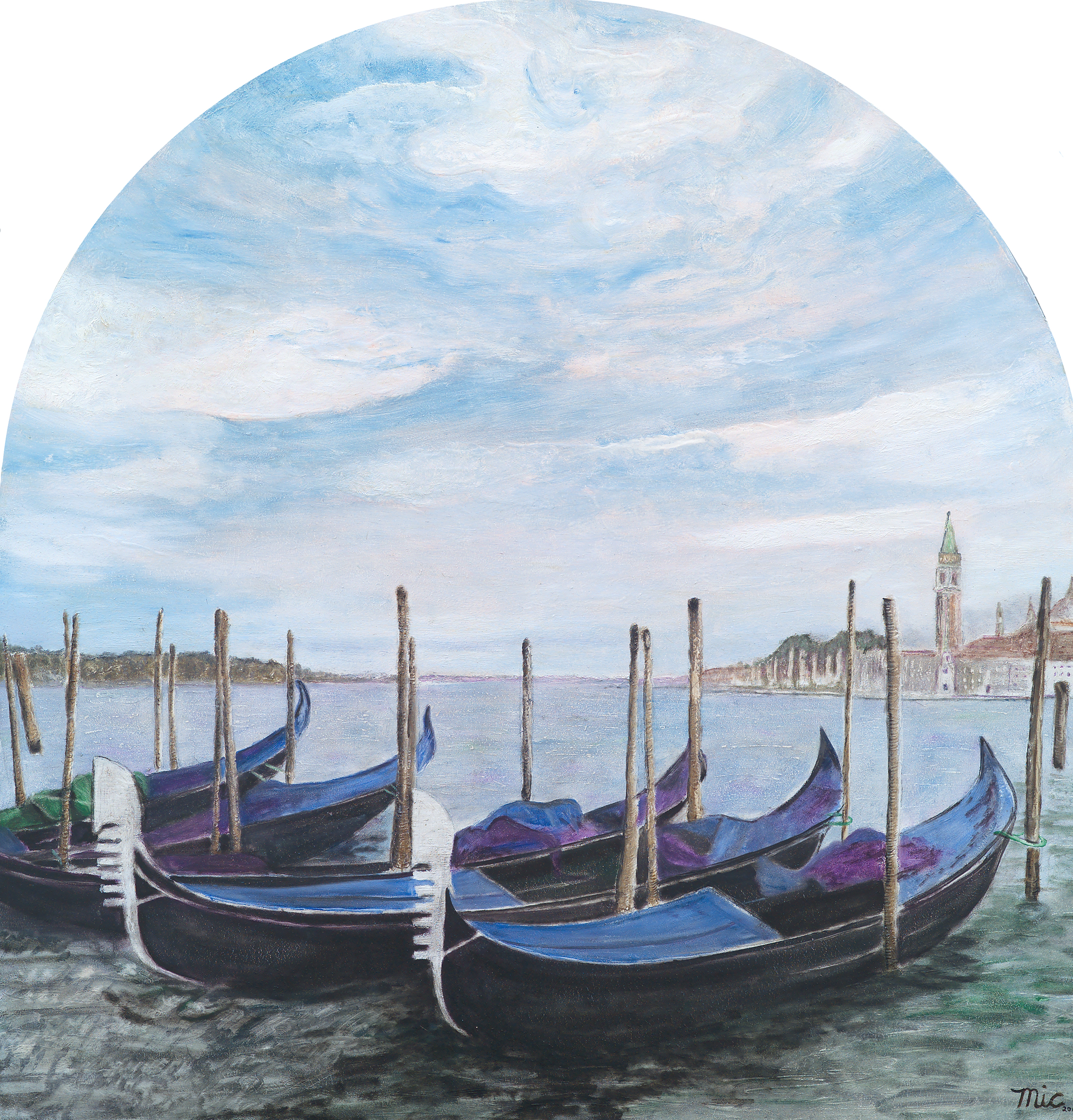 Gondolas in Venice - Oil on panel, Private collection Sam VitaleGiclee Limited Edition and canvas prints are available. Please visit the prints gallery.