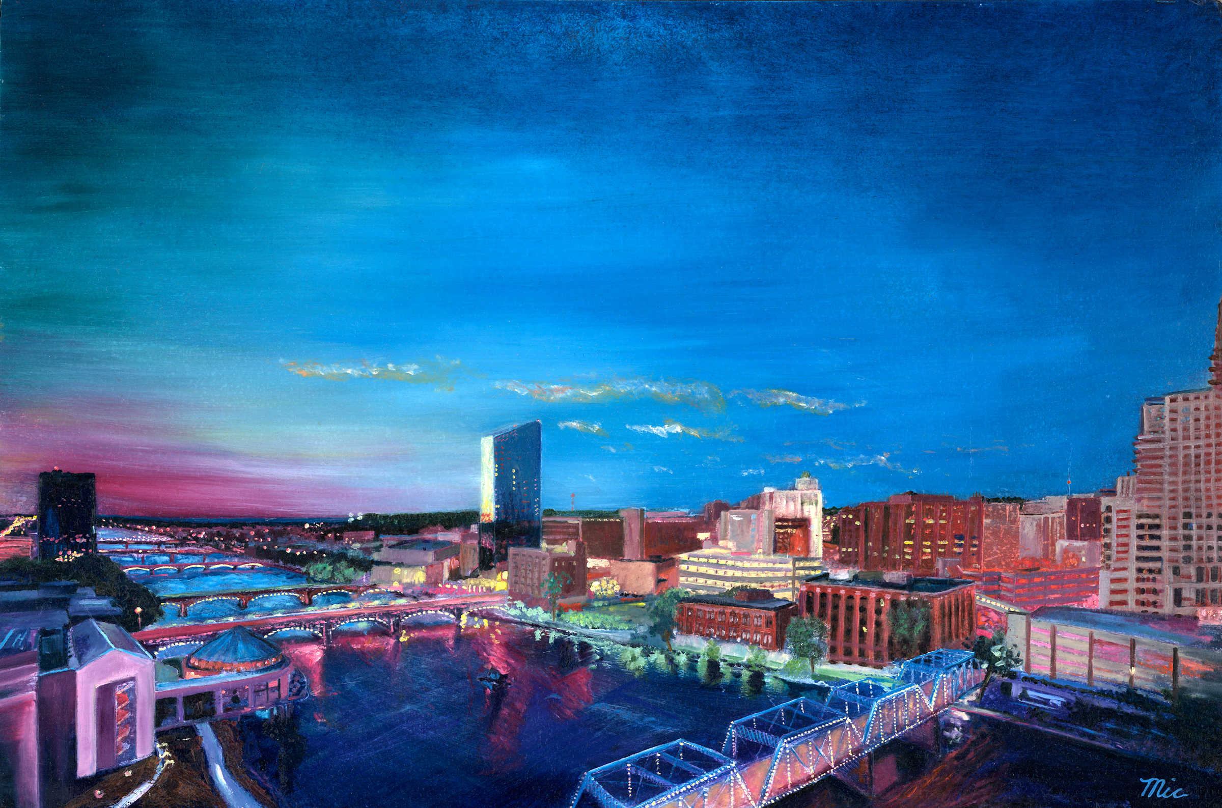 """The Grand River"" Grand Rapids, Michigan - Oil on panel, Private collection Jim Lahnala Rick Wright.Giclee Limited Edition and canvas prints are available. Please visit the prints gallery."