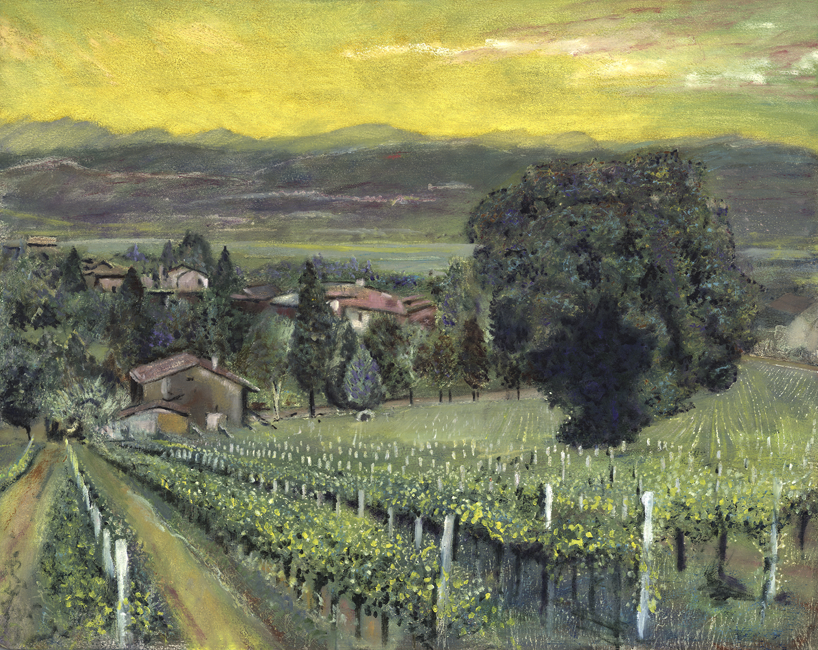 """Italian Vinyard"" Monteflco - Oil on Italian Panel Private Collection Jodi and Kerry SmithGiclee Limited Edition and canvas prints are available. Please visit the prints gallery."