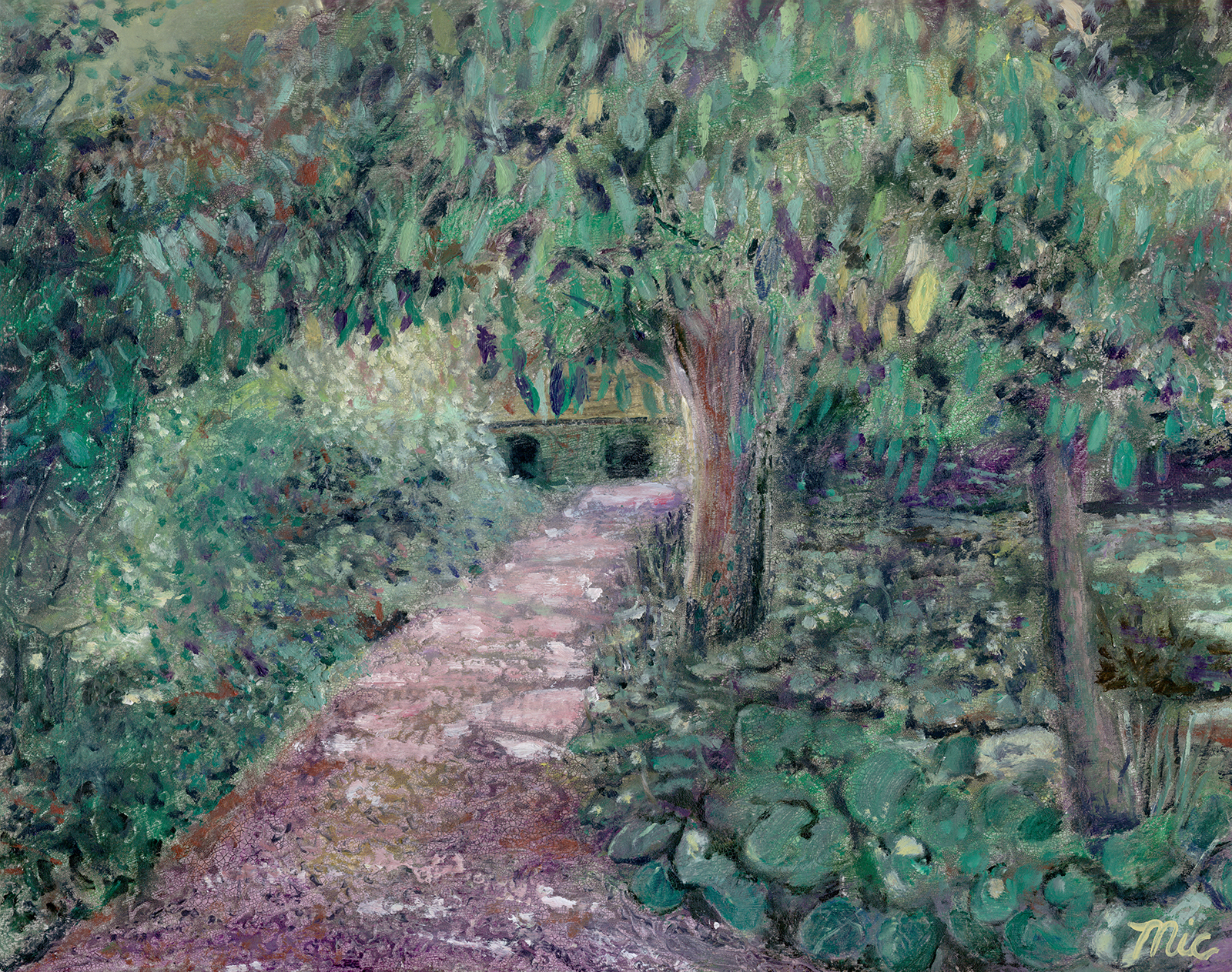 """Botanical Gardens"" Perugia, Italy - Oil on Italian panel, Private Collection Butterworth Hospital, Grand Rapids, Michigan.Giclee Limited Edition and canvas prints are available. Please visit the prints gallery."