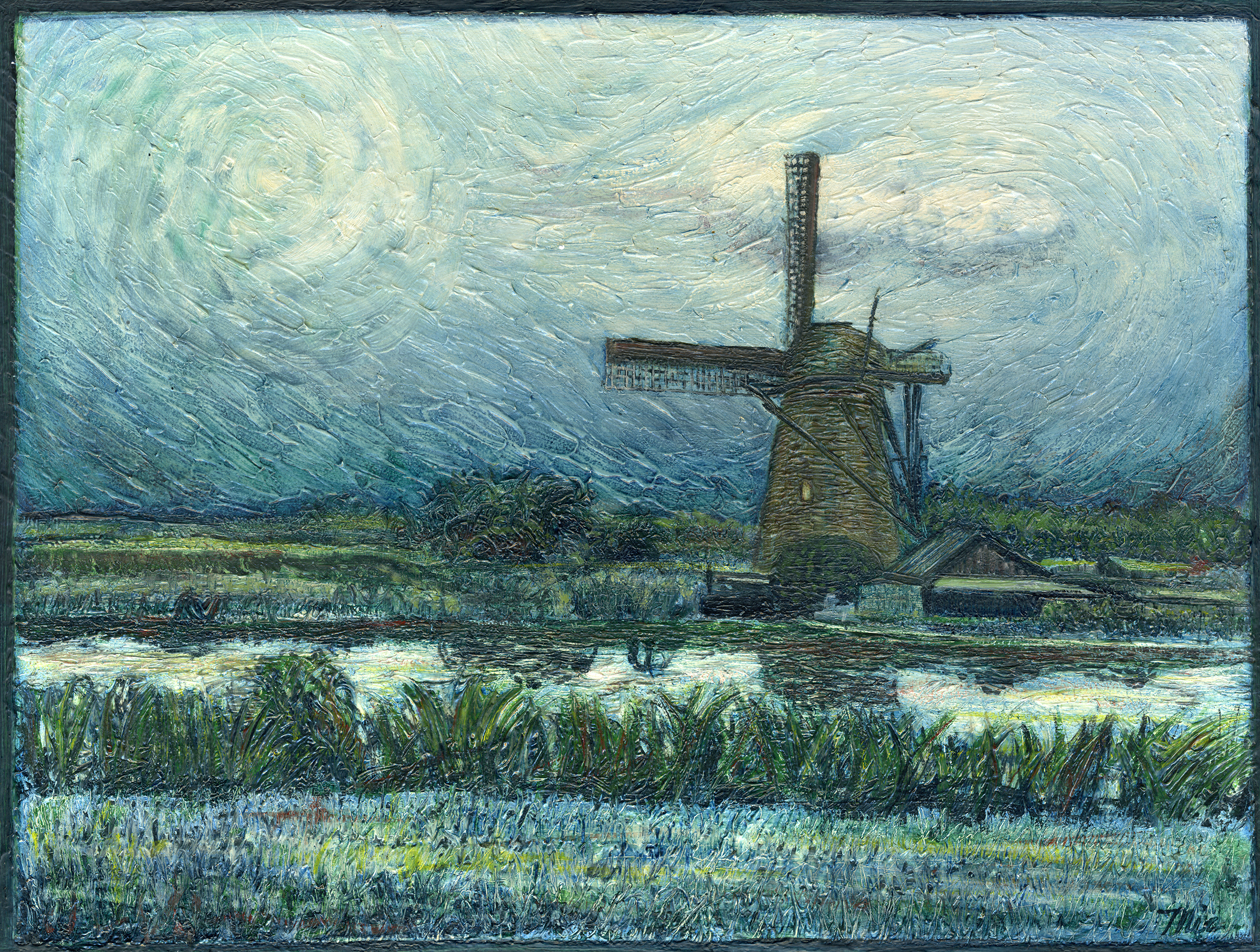 """The Windmill"" Kinderdijk, Holland - Oil Pastel, Private collection on Jhon and Allison KleynGiclee Limited Edition and canvas prints are available. Please visit the prints gallery."