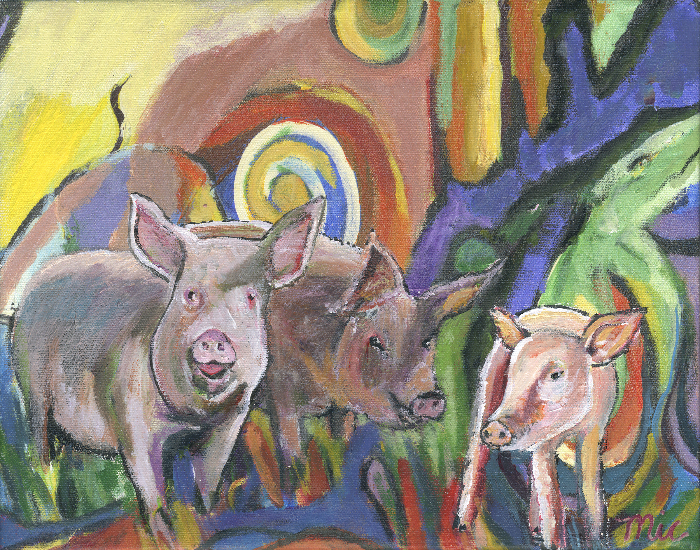Pigs Porkers a Trois - Acrylic on Canvas Private collection Mark and Kat Schmiedicke and Tiffany Barton.Giclee Limited Edition and canvas prints are available. Please visit the prints gallery.