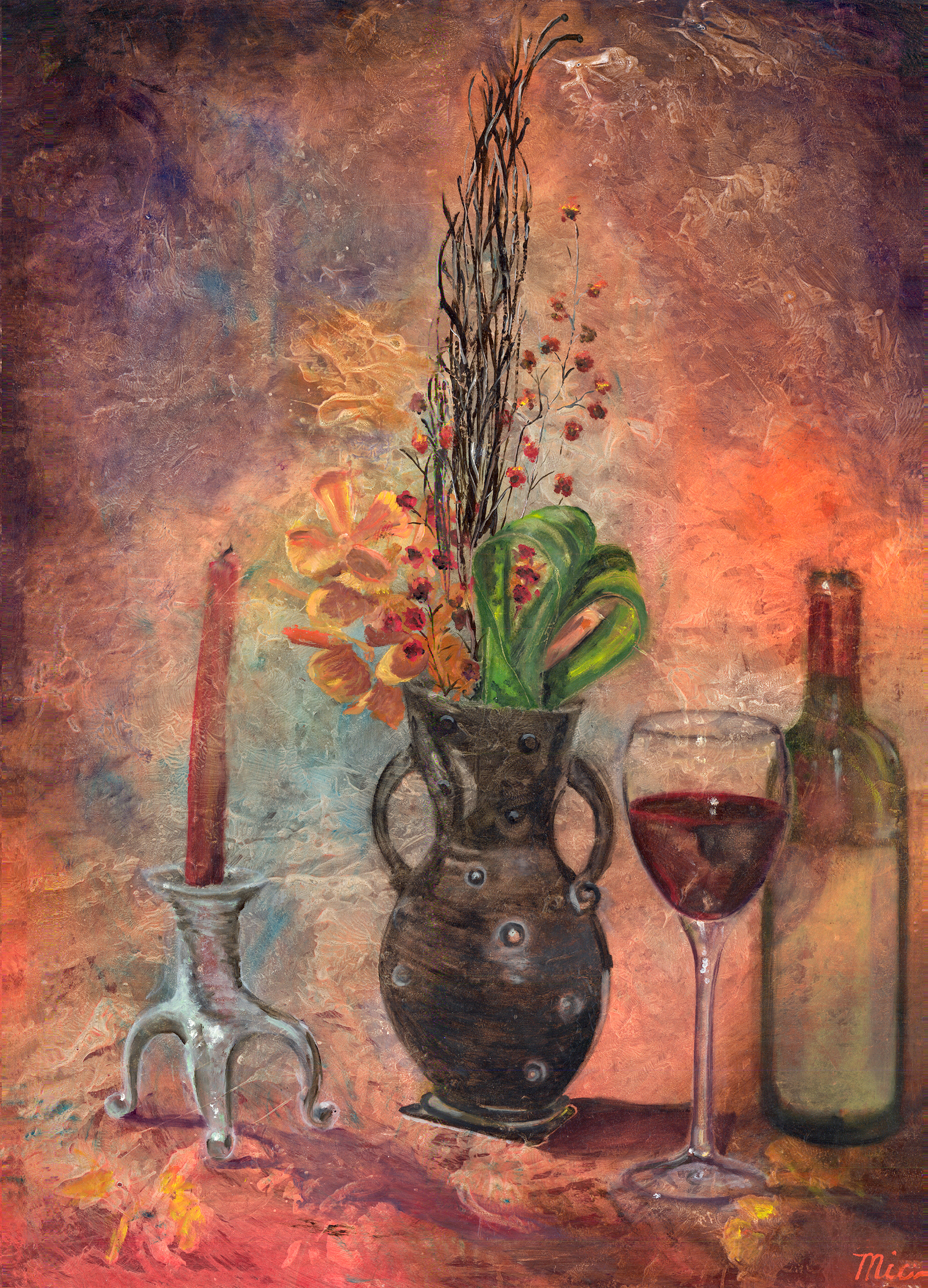 "Red Wine - Oil on Panel Private Collection ""unknown""Giclee Limited Edition and canvas prints are available. Please visit the prints gallery."