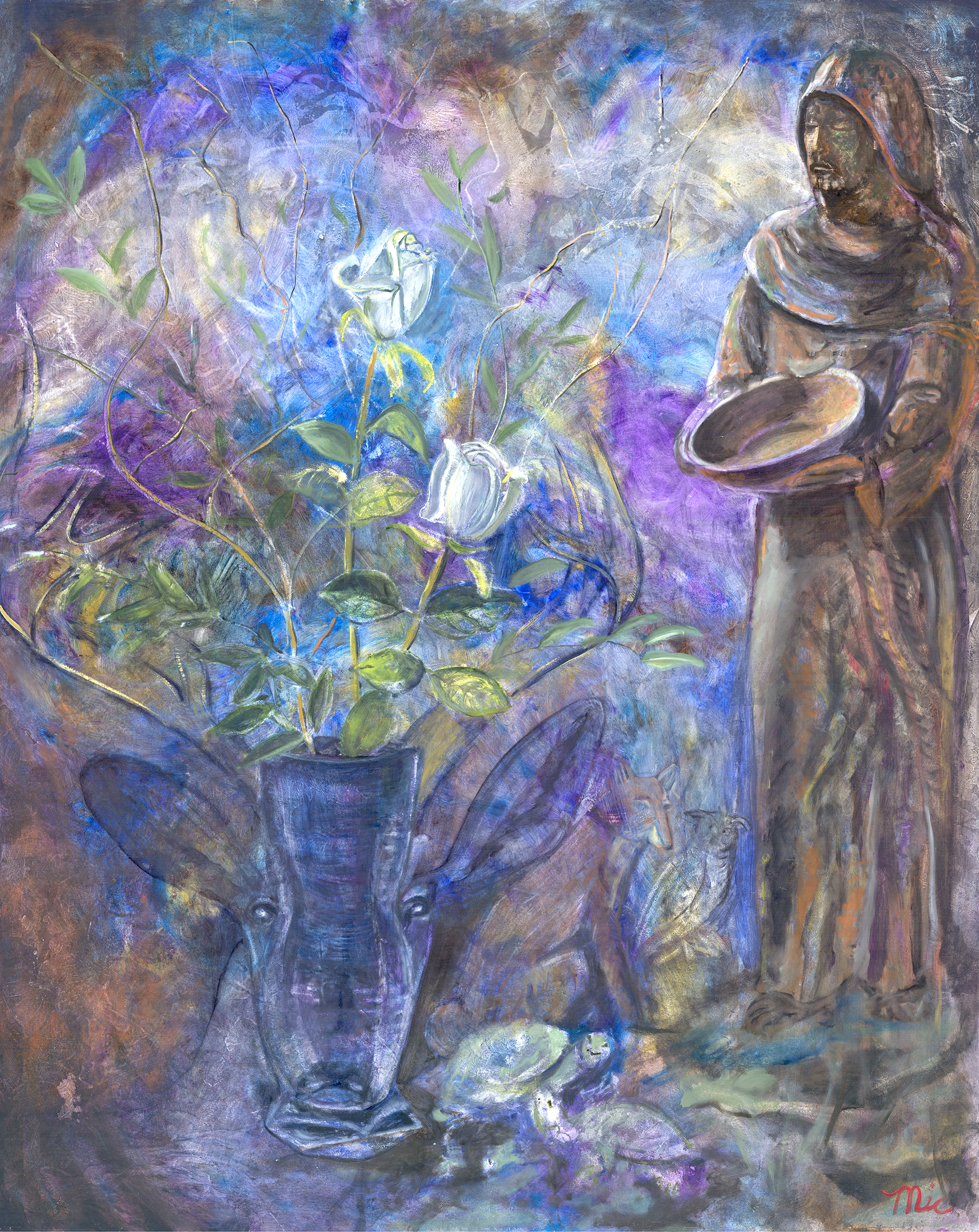 """Saint Francis and Arrangement of Animals - Oil om Panel 30"""" x 238"""" $5,200Giclee Limited Edition and canvas prints are available. Please visit the prints gallery."""