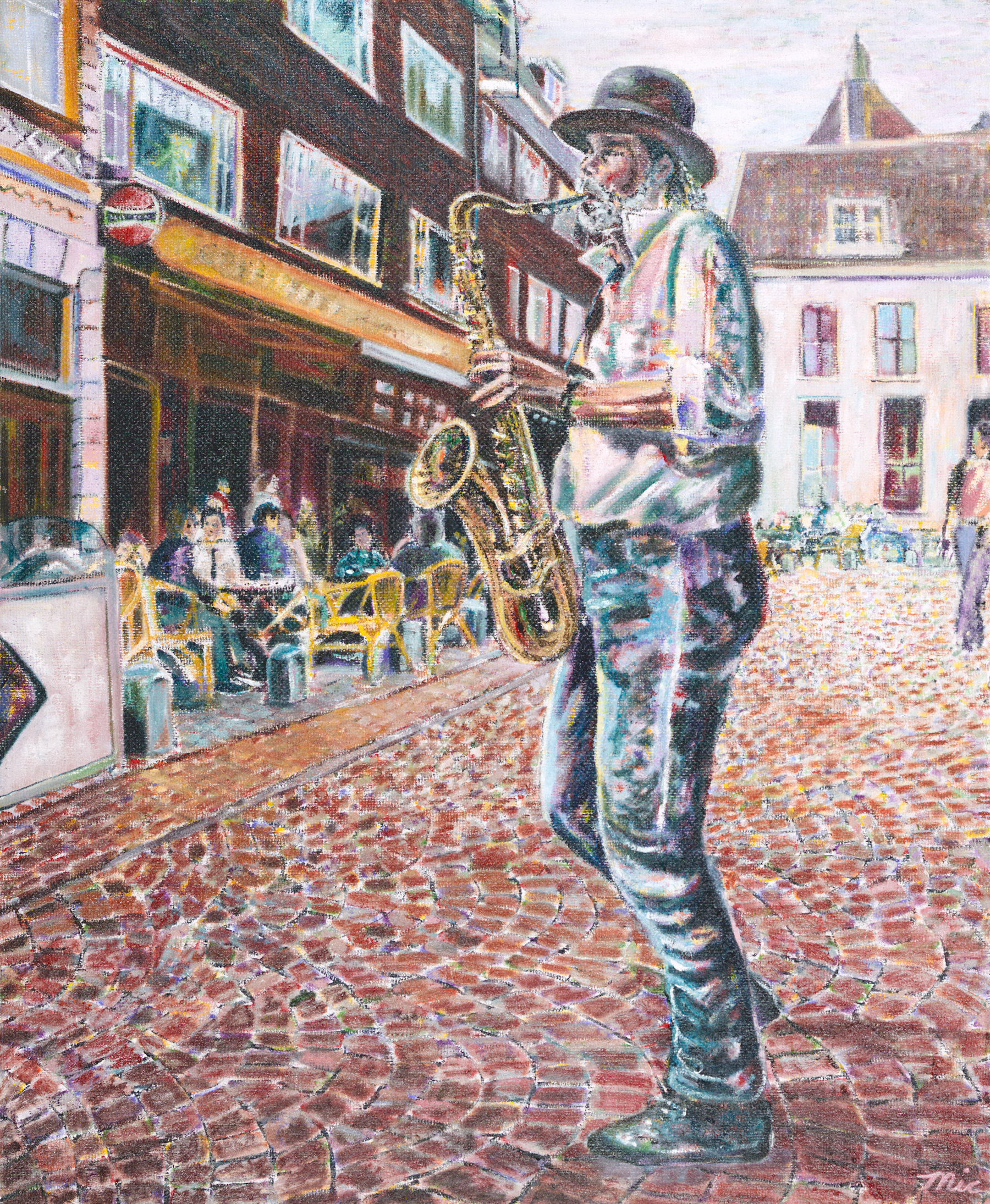 Sax Player Utrecht Netherlands - Oil; on panel Private collection Raymond Rigazio South Beach MiamiGiclee Limited Edition and canvas prints are available. Please visit the prints gallery.