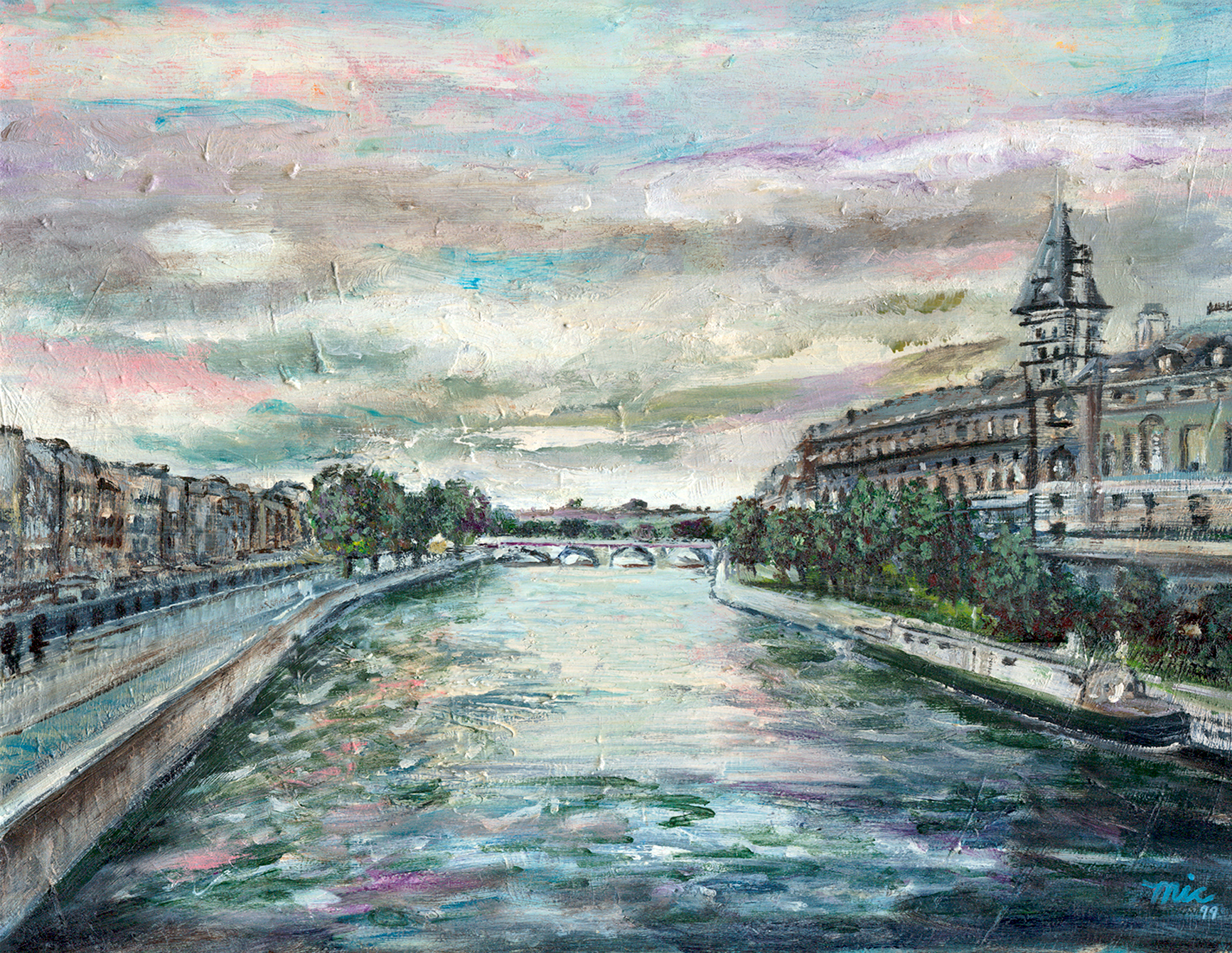 The Seine Paris - Oil on panel, Private collection Judge Curt Bensen and Judge Jane MarkeyGiclee Limited Edition and canvas prints are available. Please visit the prints gallery.