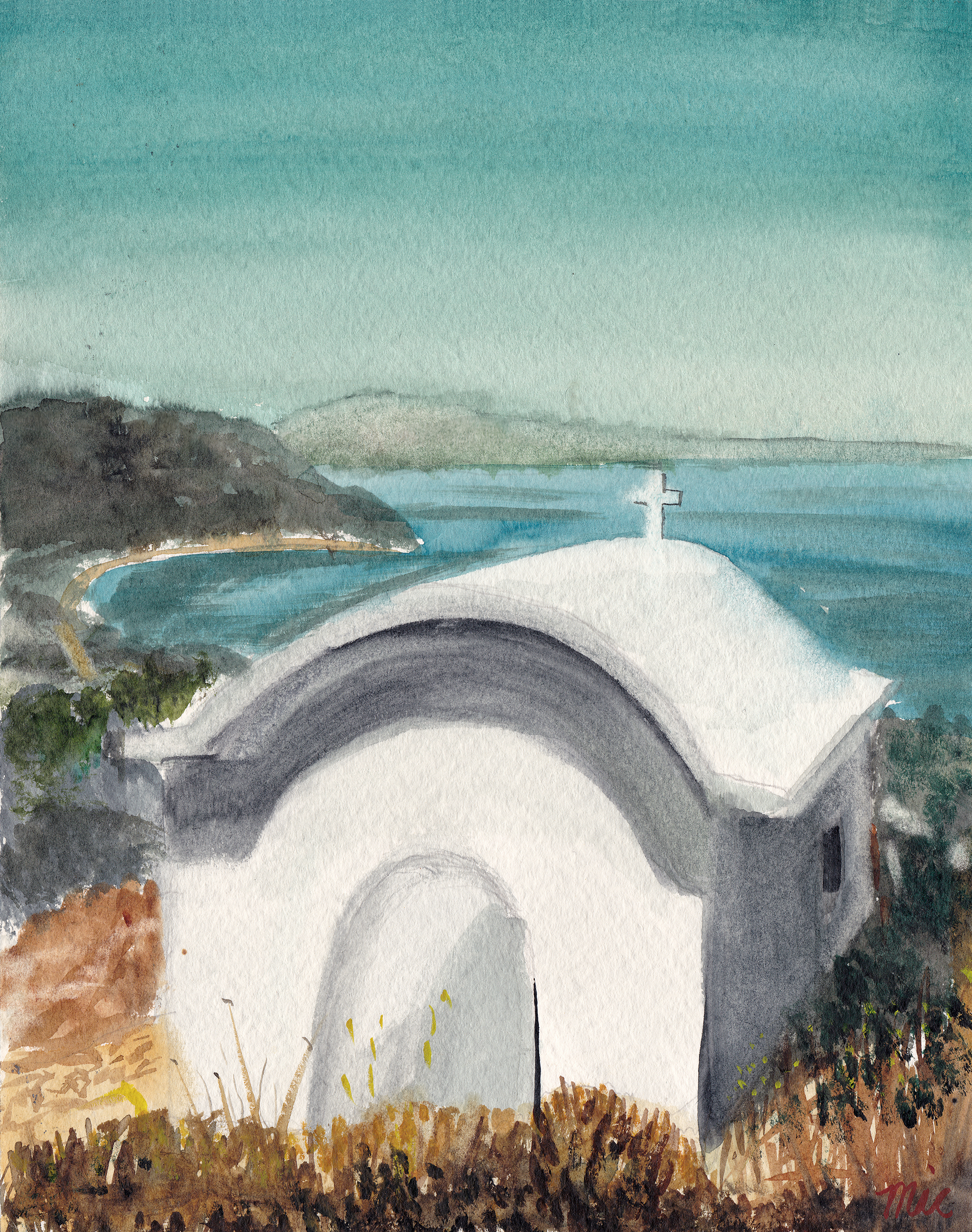 """The Little Chapel"" Alonnisos, Greece - Watercolor Private collection (unknown)Giclee Limited Edition and canvas prints are available. Please visit the prints gallery."
