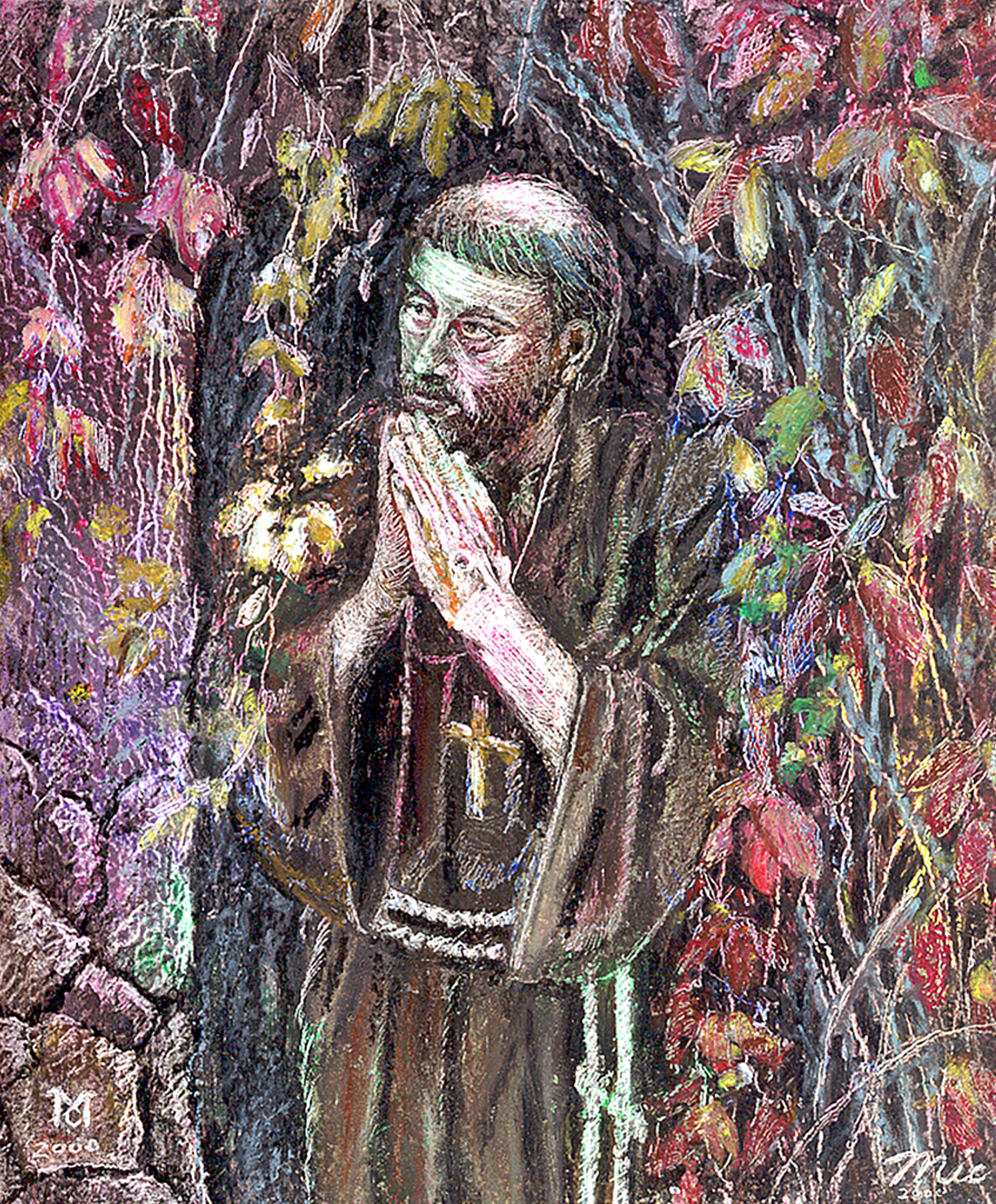 """Autumn Prayer"" Saint Francis - Oil Pastel Private collection ""Unknown""Giclee Limited Edition and canvas prints are available. Please visit the prints gallery."