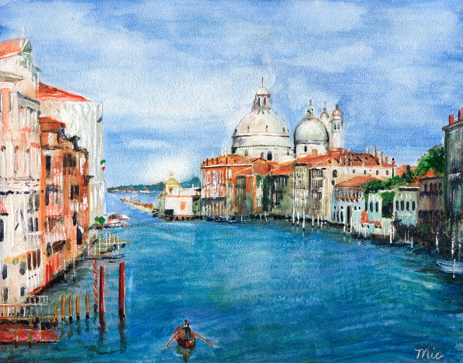 """""""Grand Canal"""" Venice, Italy - Water color on panel Private collection Jack and Susan HesslerGiclee Limited Edition and canvas prints are available. Please visit the prints gallery."""