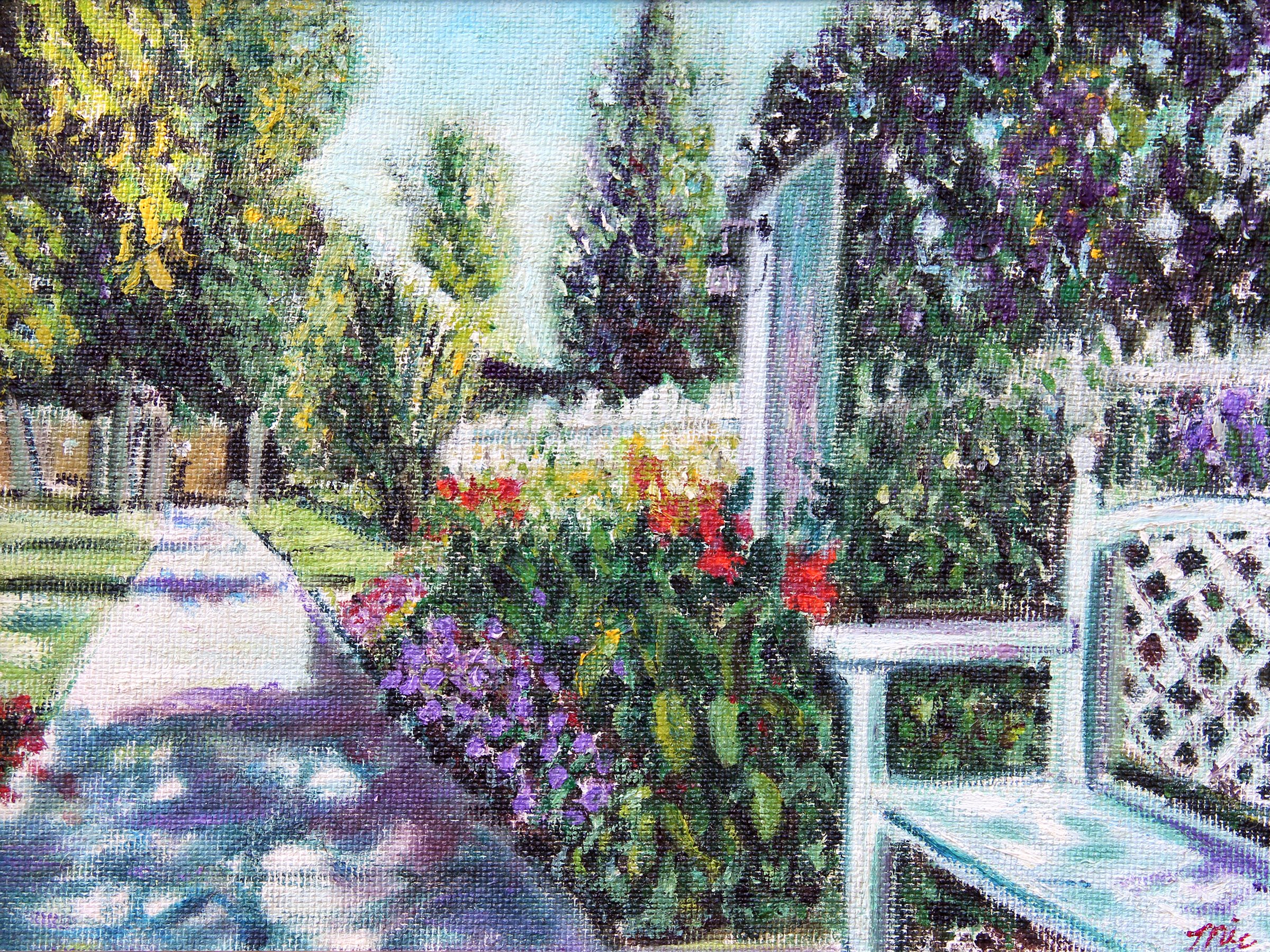 The Garden at the Grand Hotel, Mackanac Island, Michigan - Oil on Italian panel, Private Collection Bob and Marcy Roth.Giclee Limited Edition and canvas prints are available. Please visit the prints gallery.
