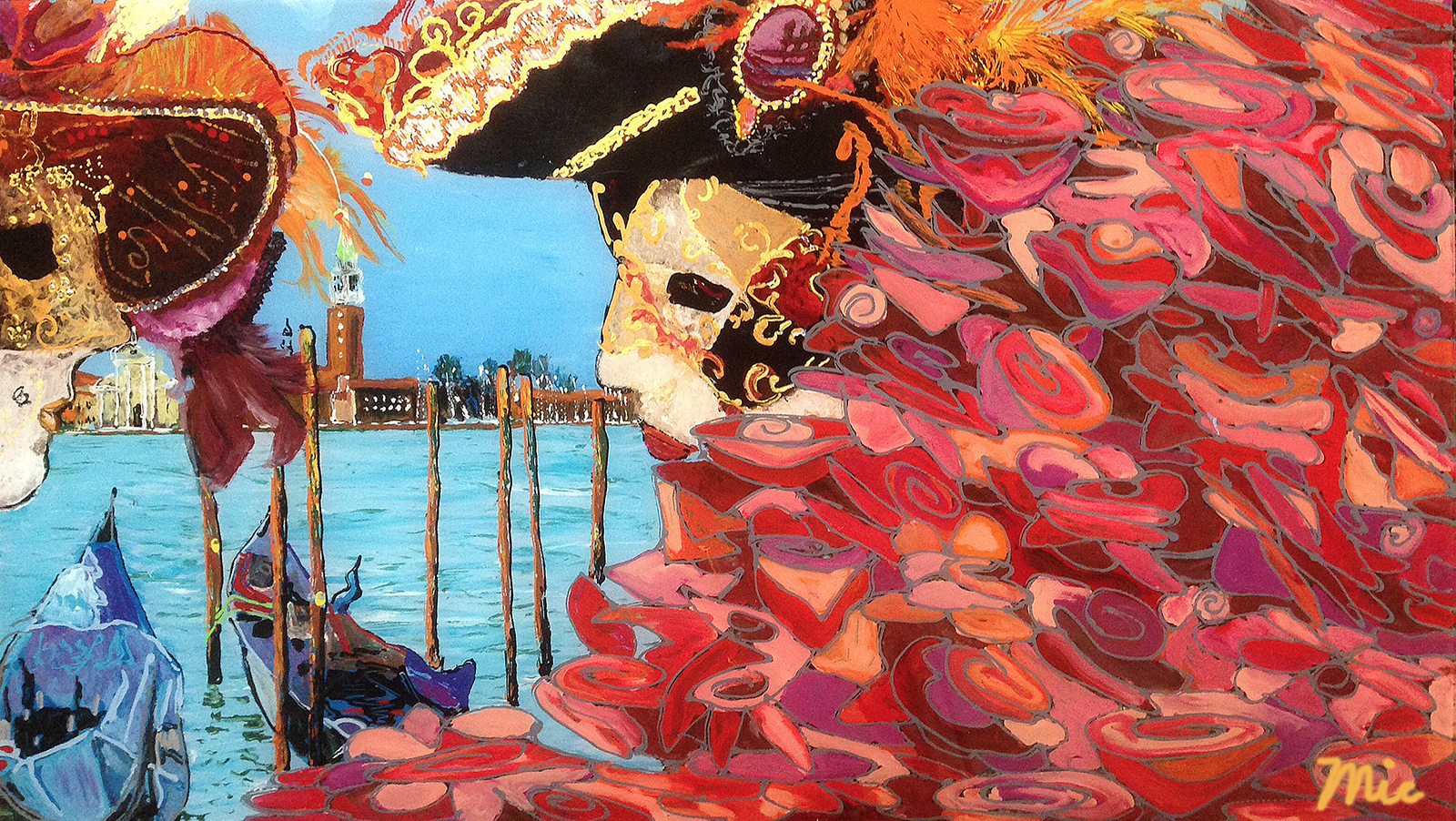 """Carnevale"" Venezia Italia - Acrylic on acylic panel 14"" x 25"" $2000Giclee Limited Edition and canvas prints are available. Please visit the prints gallery."