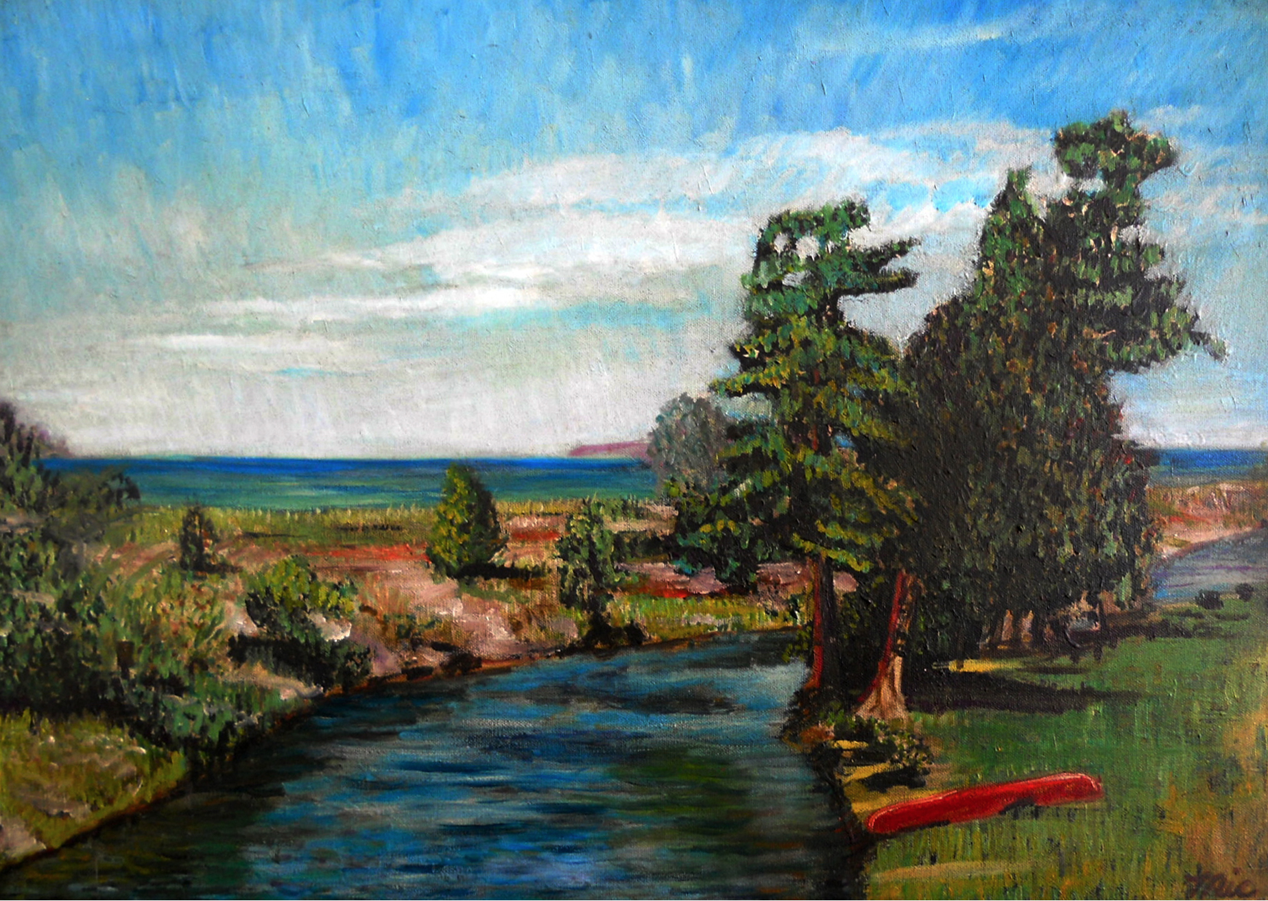 """Crystal River at The Homestead"" Glen Arbor, Michigan - Oil on panel, Private collection ""unknown""Giclee Limited Edition and canvas prints are available. Please visit the prints gallery."