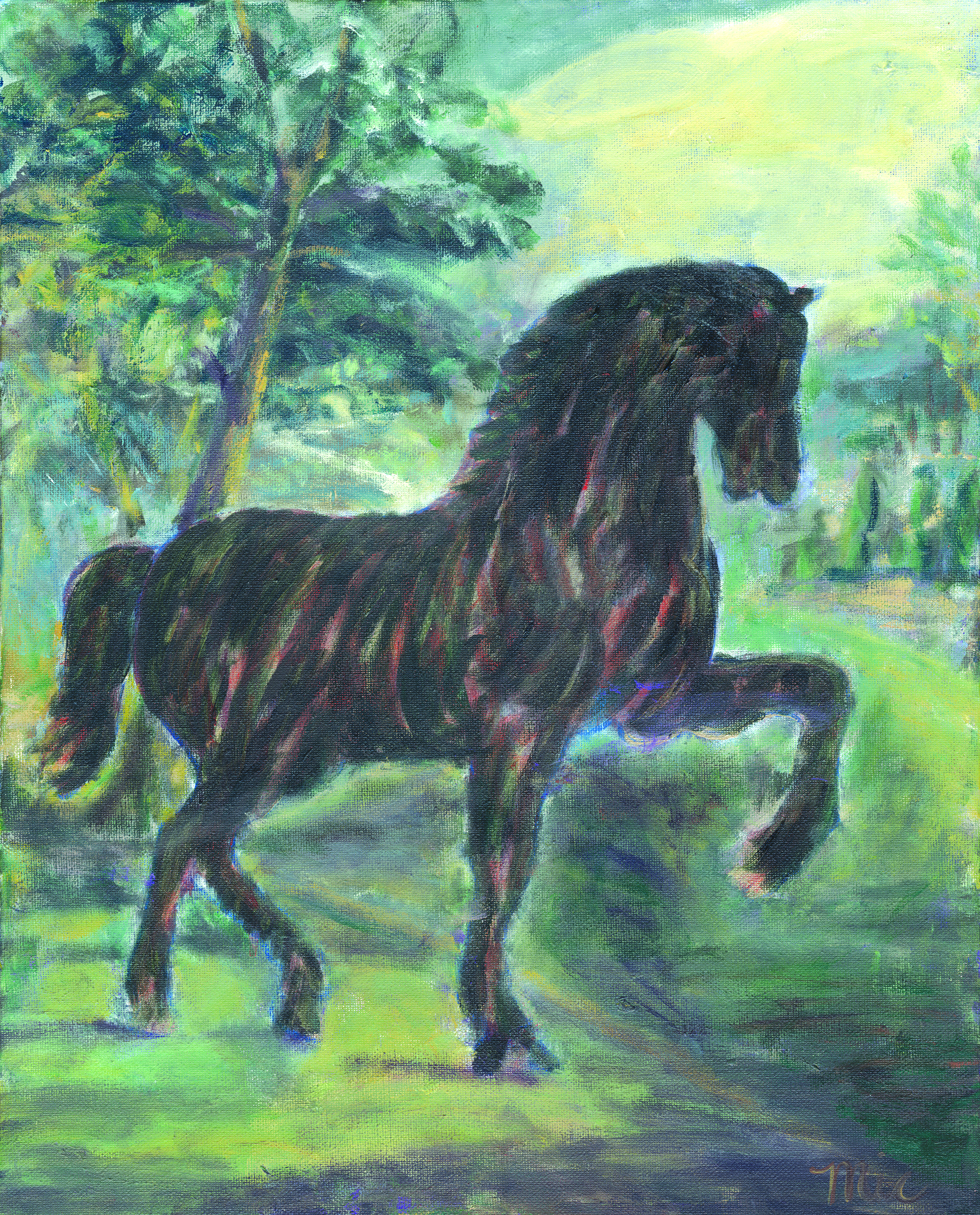 Da Vinci's Horse Escapes Meijer Gardens - Oil Pastel, Private collection Loni and David PaddenGiclee Limited Edition and canvas prints are available. Please visit the prints gallery.