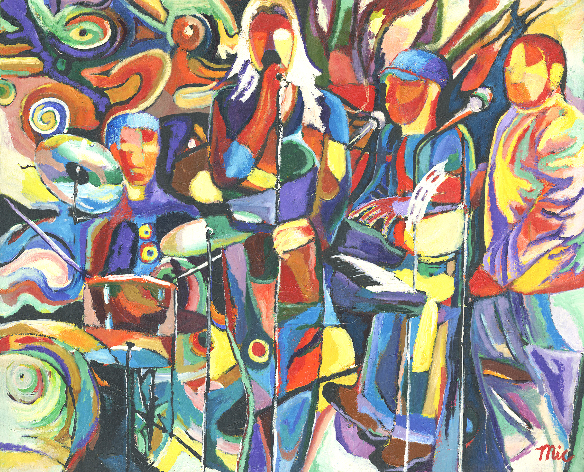 """Abstract Red Jazz - Acrylic on Canvas 48"""" x 60"""" $4000Giclee Limited Edition and canvas prints are available. Please visit the prints gallery."""