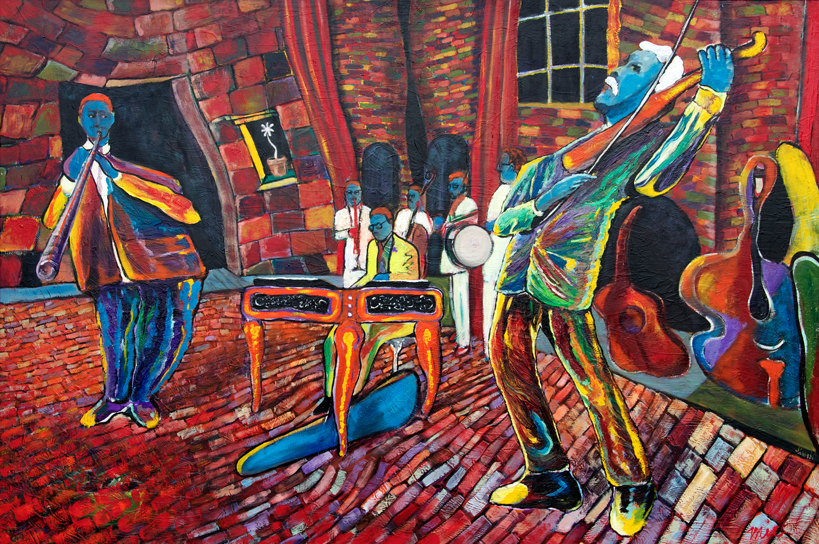 """""""Russian Street Band"""" Utrecht, Netherlands - Oil on Panel Private collection Jill Greenop and Duffy MaginGiclee Limited Edition and canvas prints are available. Please visit the prints gallery."""