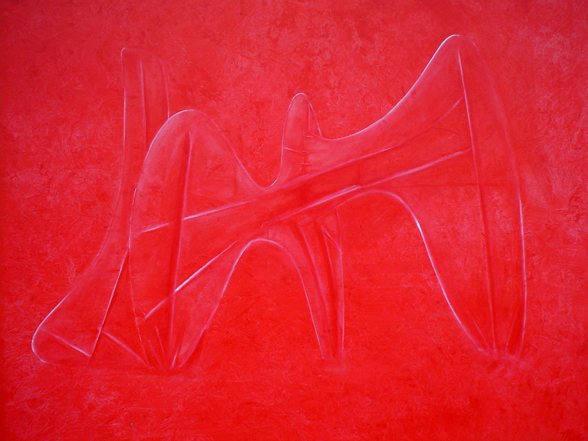 """Calder Red - The large oil on canvas is a tribute to La Grande Vitesse, a public sculpture by American artist Alexander Calder.Oil on Canvas 50"""" x 50"""" Framed $7,000Giclee Limited Edition and canvas prints are available. Please visit the prints gallery."""