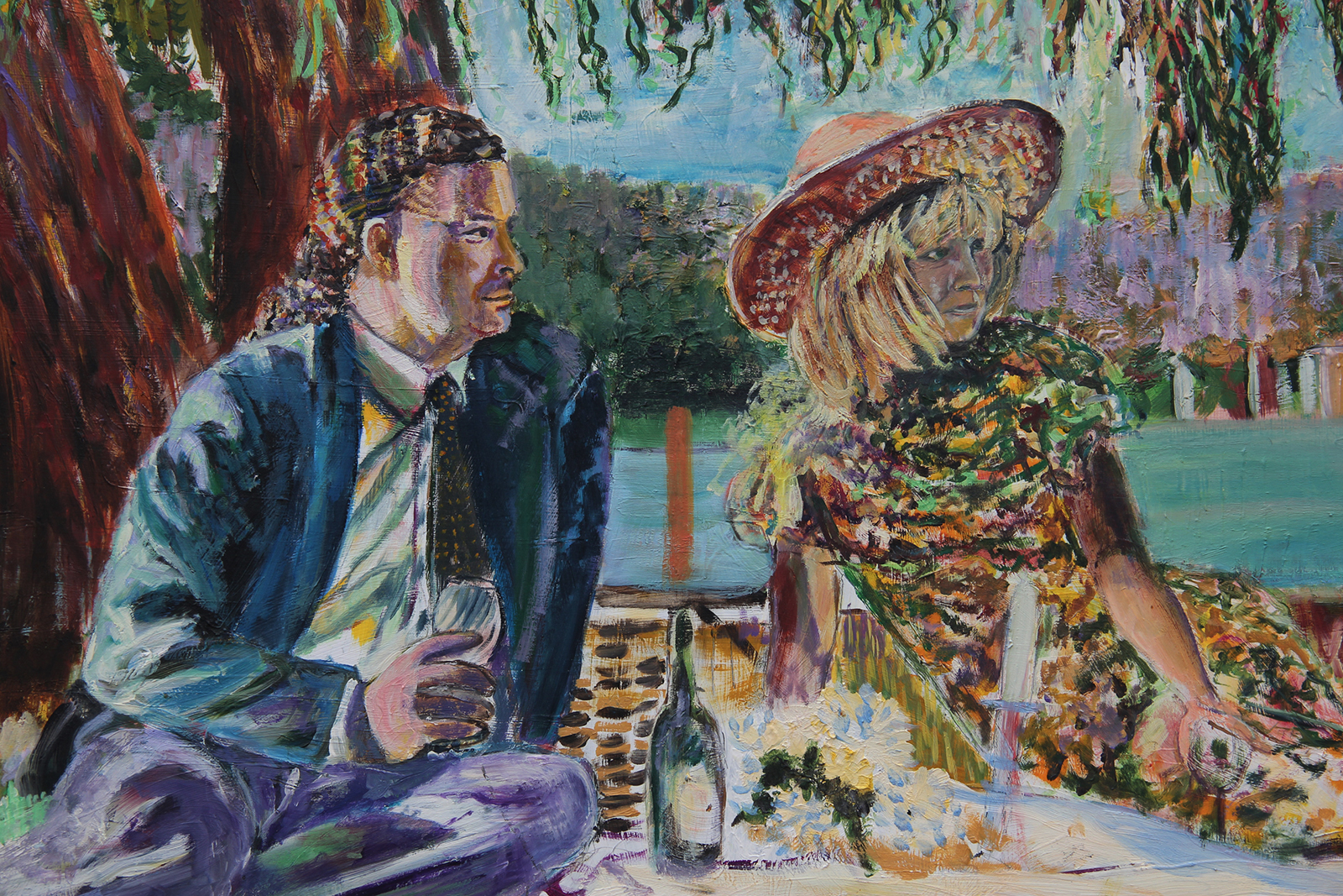 "Mic and Susan ""Picnic in Saugatuck"" - Oil on Panel private collection"