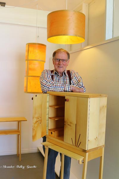 Sven Madson with a piece of his fine furniture