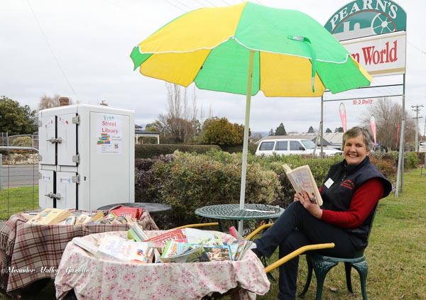 Anne Heazlewood of Pearns Steam World browses books from the new street Library in Westbury