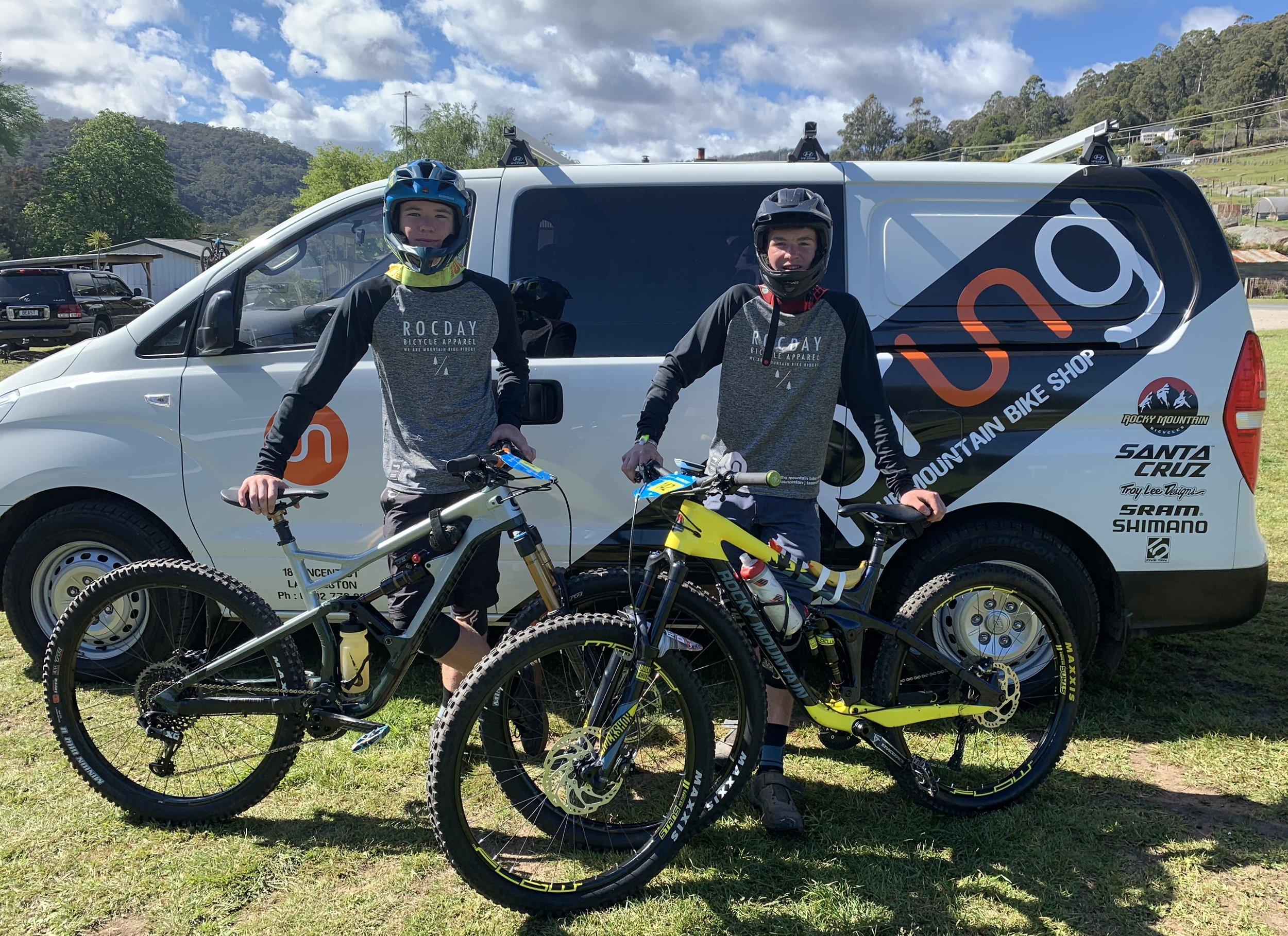 Jak Oxford and Tom Stylianou on the mountain biking circuit.