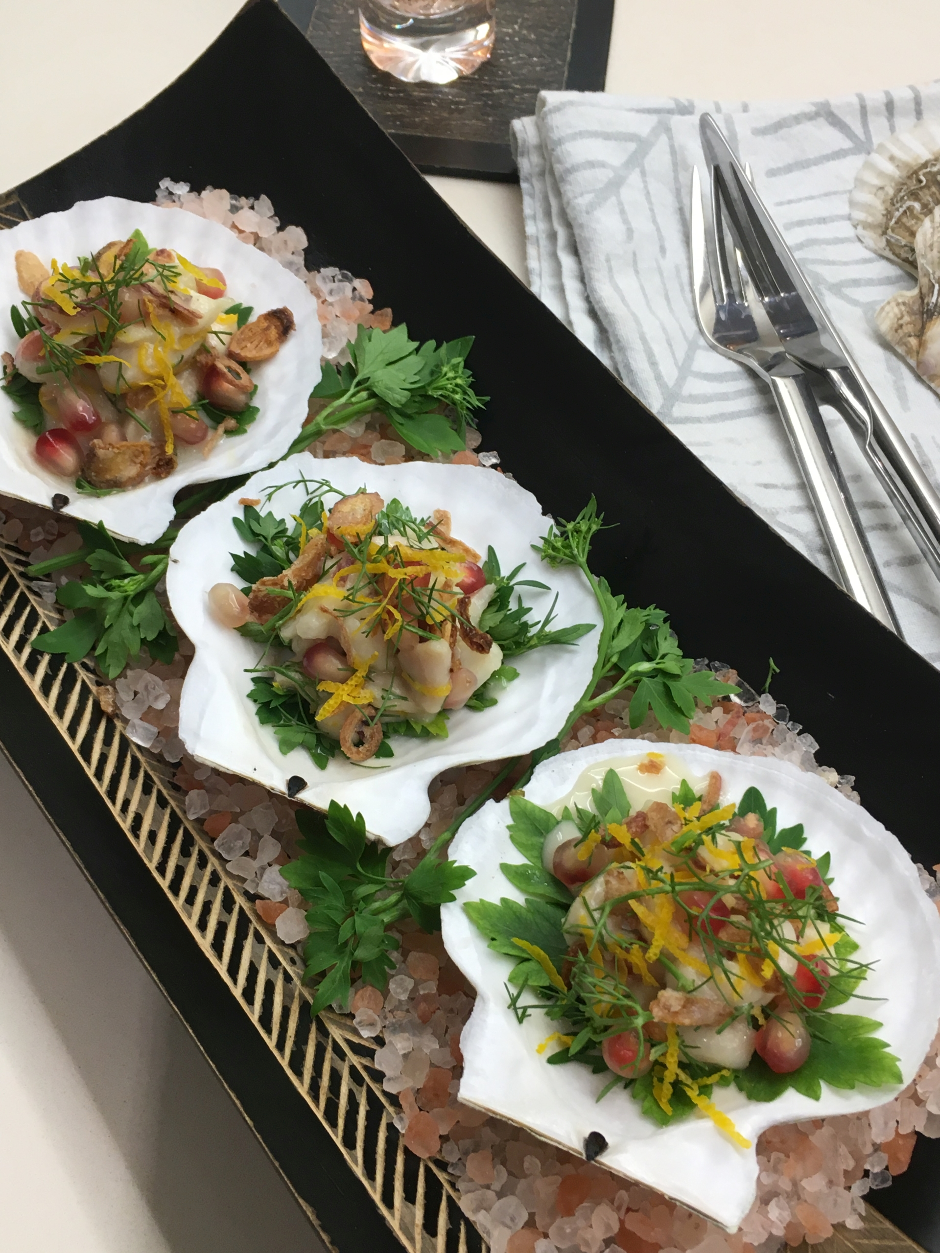This dish combines juicy Australian scallops with some Vietnemese flavours and textures.