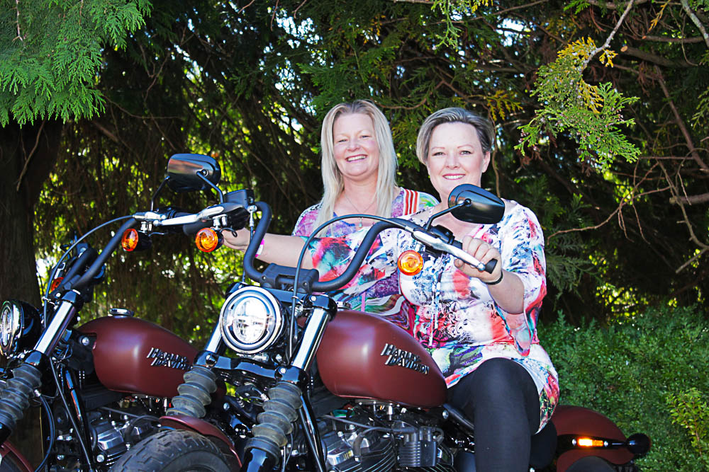L to R: Ange Weeks and Dee Lowry of Sheffeld testing brand new Harley Davidson Softails which were showcased at Mole Creek.   Photo | Hayley Manning