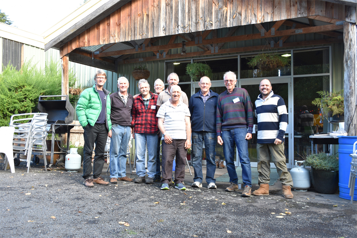 Retreat organisers: David Forrest, Men Connecting; Philip Harback, Martin Haldiman, John Nash and Geo‰ Madden, DirectionsTas; Nico Luciani, Men Connecting; Ian Flowers, the Shed and Men Connecting; Colin Bastick and Richard Levett, Men Connecting.  Photograph by Richard Levett