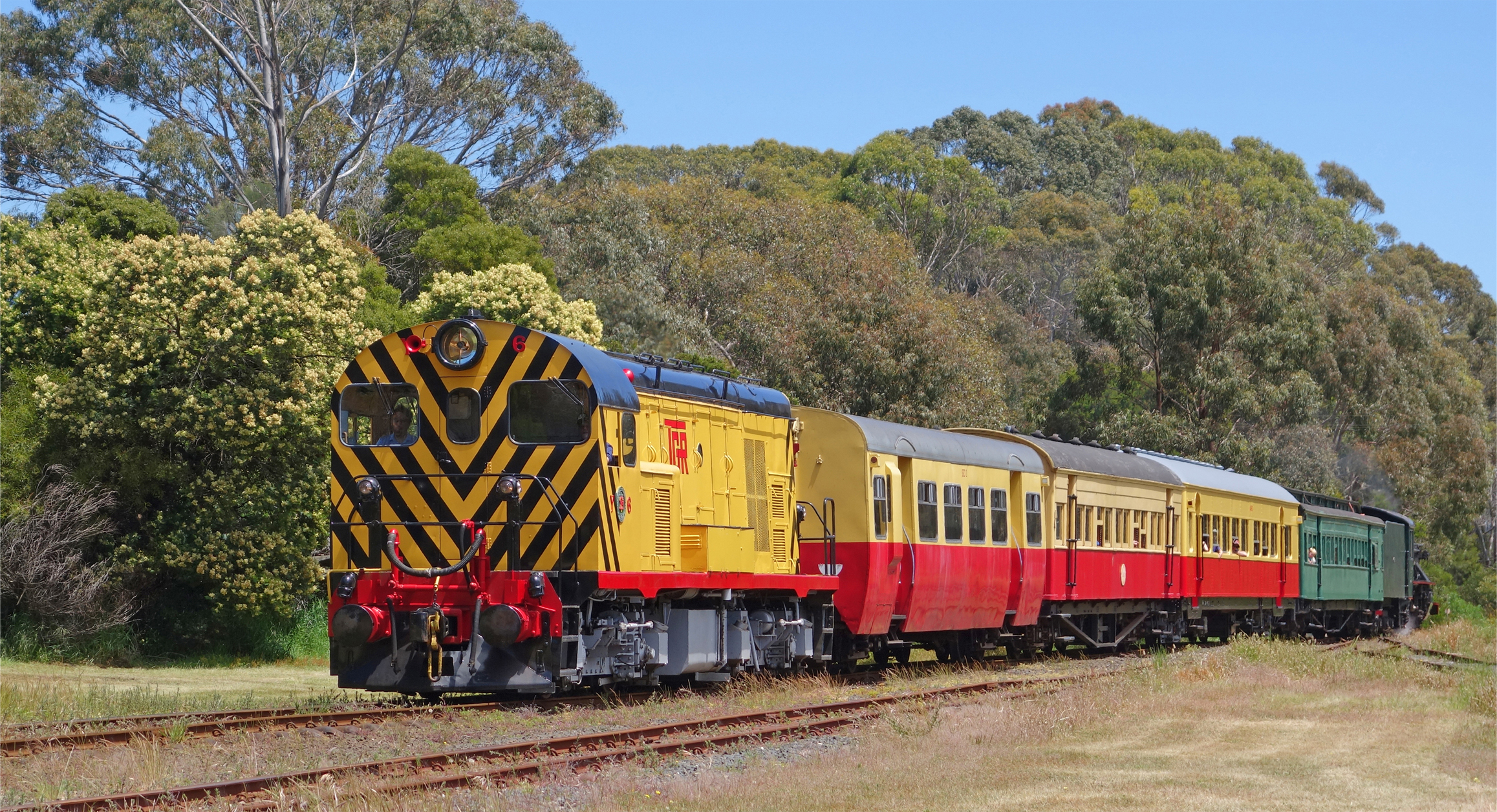 The Don River Railway diesel locomotive and heritage carriages.  Photo supplied