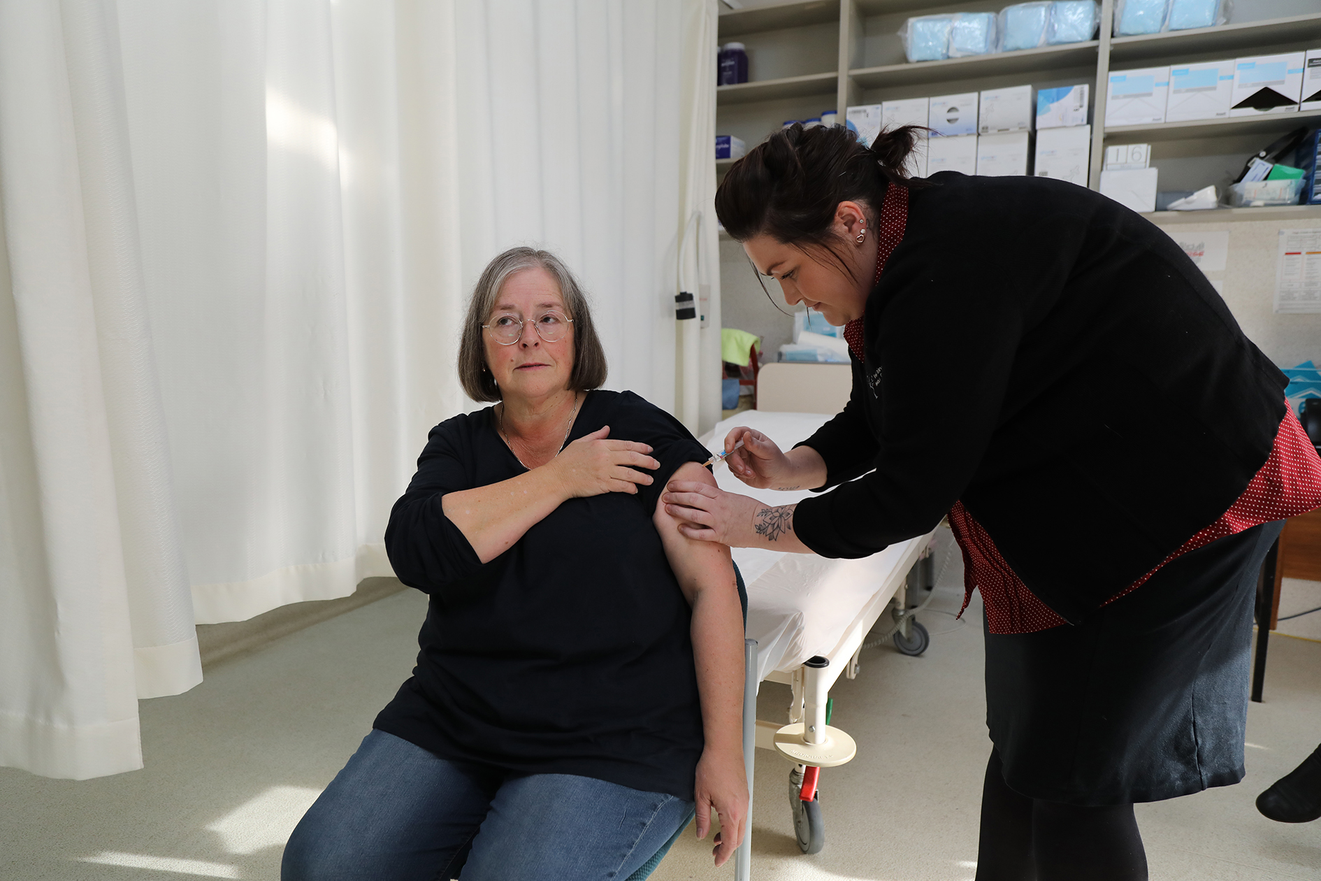 The Gazette editor, taking one for the team, courtesy of Deloraine Medical Centre.  Photo by Mike Moores