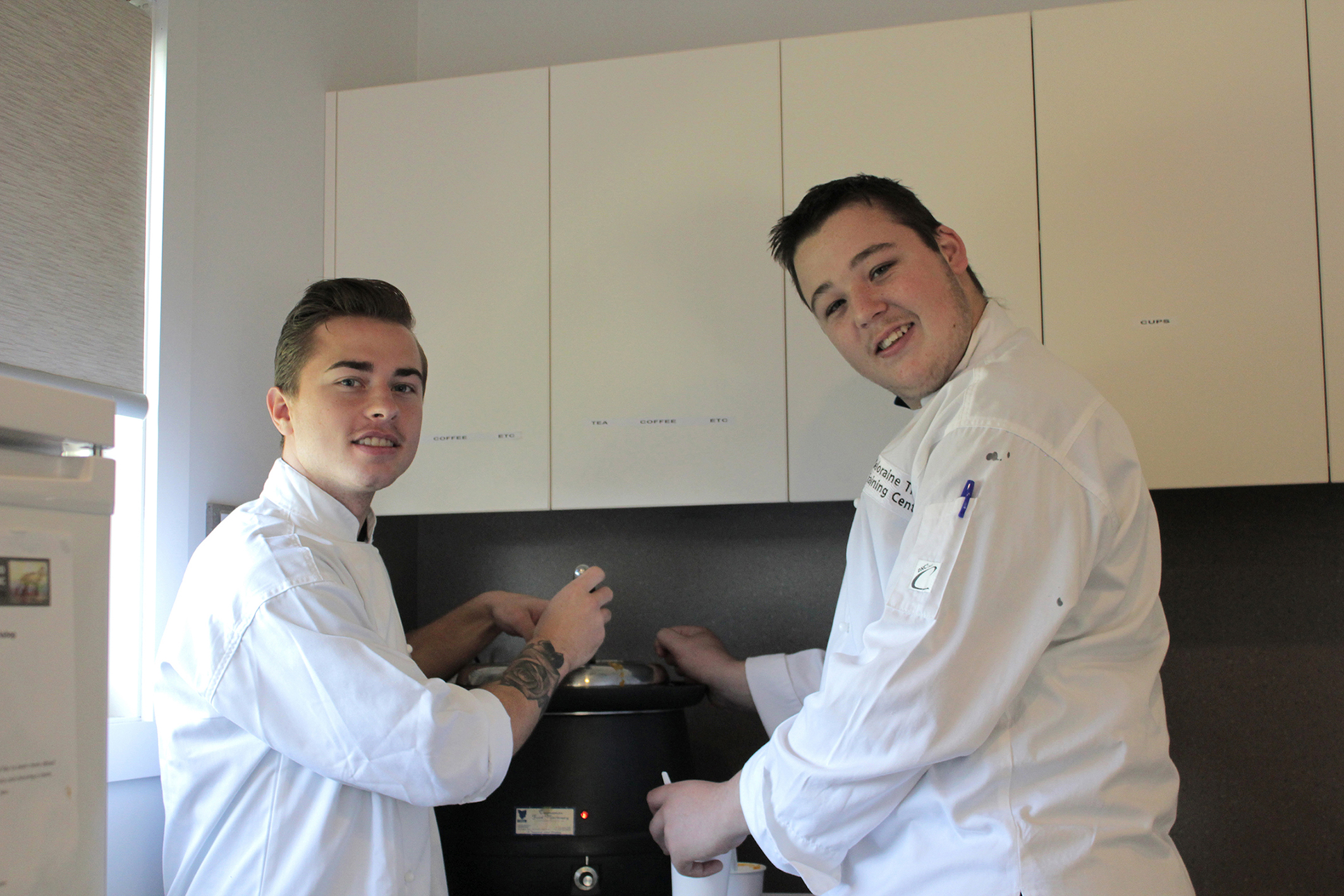 Tristan Webb and Shane Dale (right) from Deloraine Trade Training Centre.  Photo by Hayley Manning