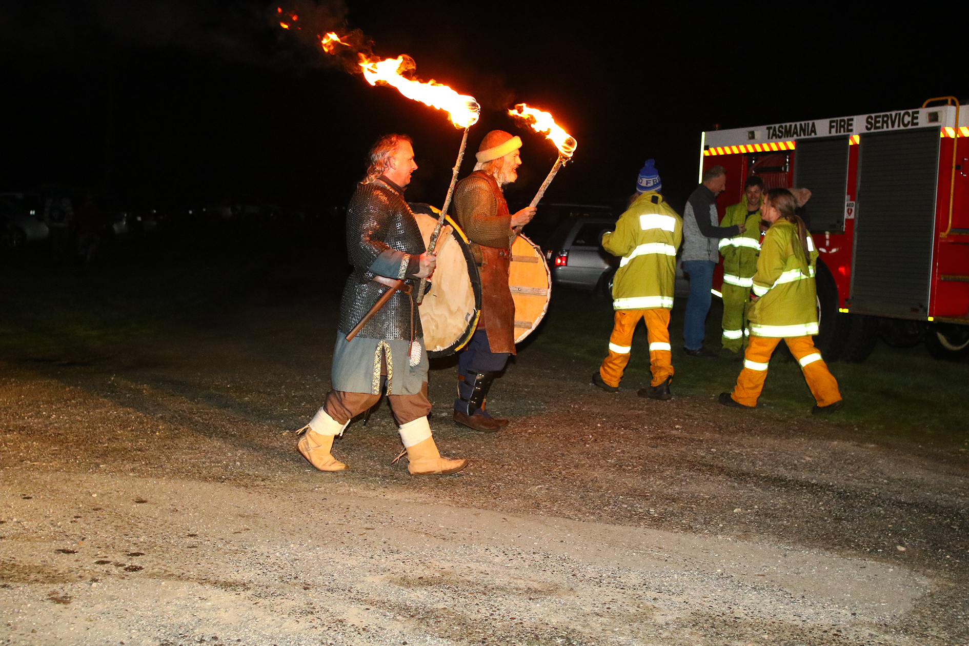 It pays to have the Deloraine Fire Service nearby when Vikings roam the land.  Photo by Mike Moores