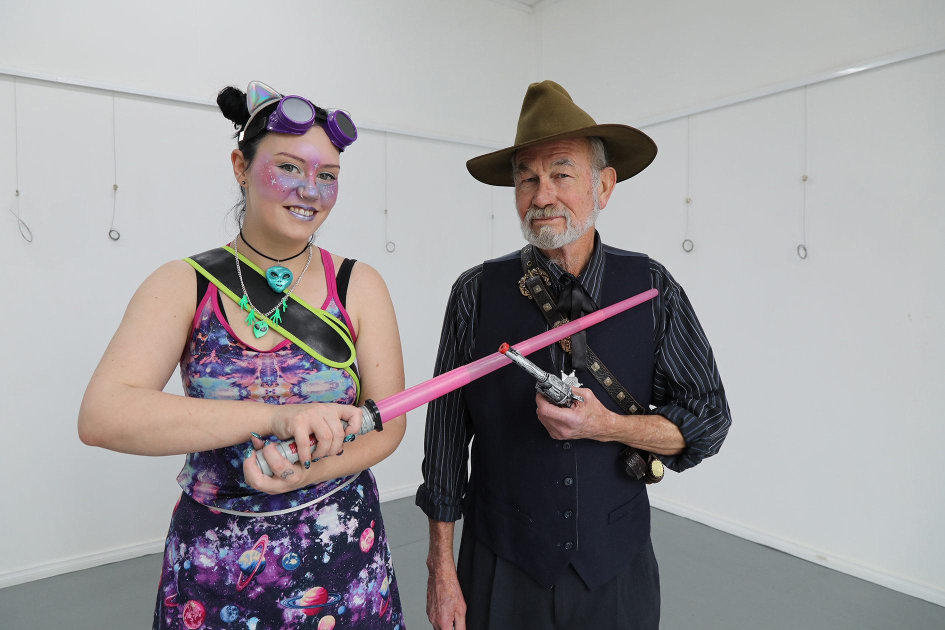 CJ Kilbride and Ken Bradford, both of Deloraine, showing off their martial skills in anticipation of this year's Space Western showdown.  Photo by Mike Moores
