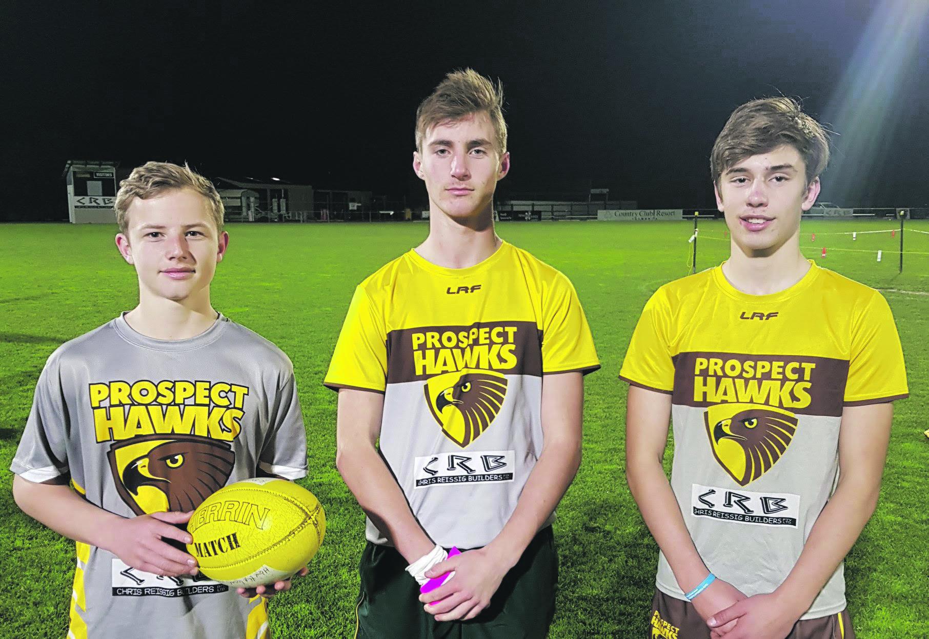 Hawks U15s, Isaac Hyatt, Brayden Fellows and Conall McCormack.