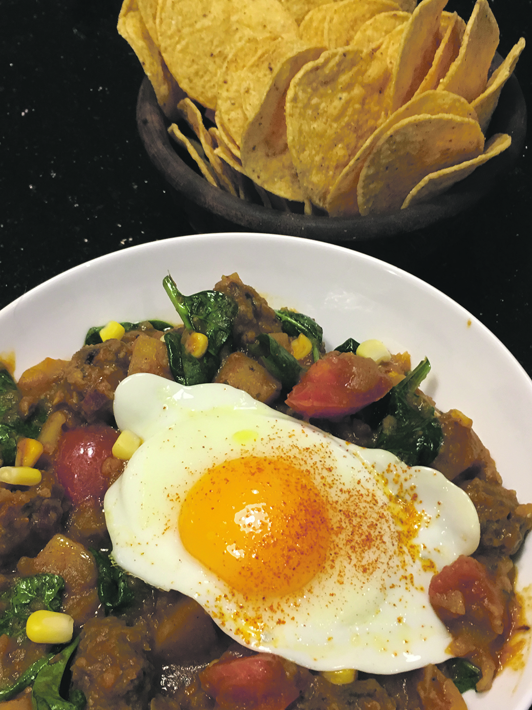 Charquicán – traditionally made from llama or beef jerky, now pays homage to the modern Chilean use of minced beef and fried eggs.  Photo by Wai Lin Coultas