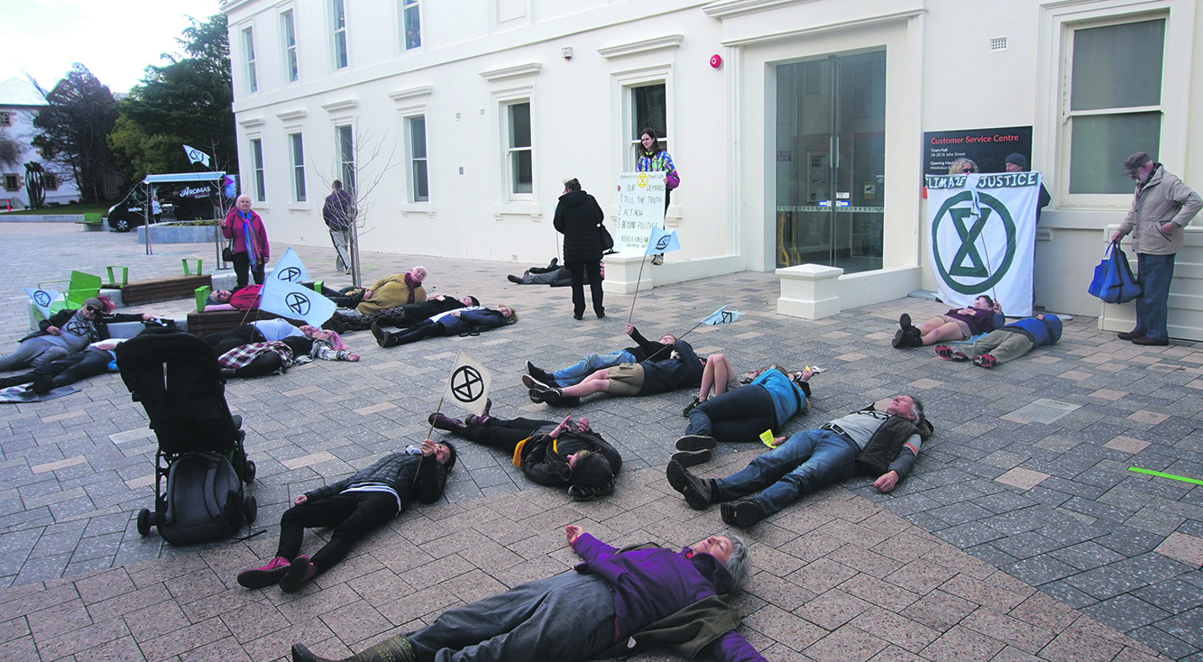 Meander Valley XR at the Extinction Rebellion 'Die-In', Launceston Town Hall.  Photo supplied