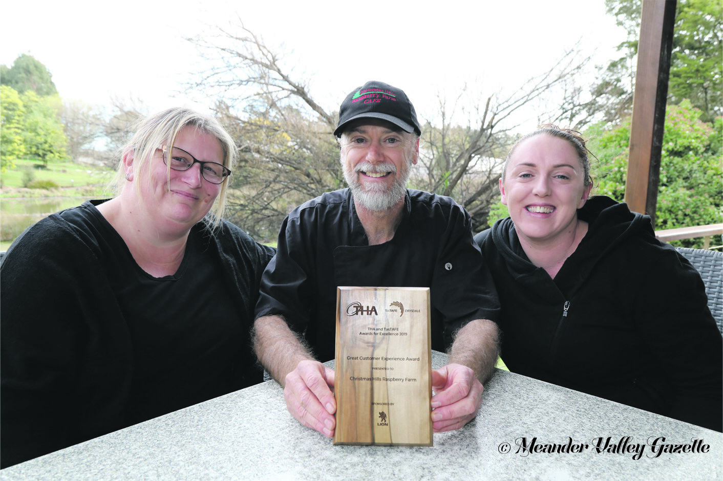 Photo by Mike Moores  Café supervisor Peta Robinson, chef Michael Lambert and manager Elise Chilcott – proud of their staff, service and food – now proud customer experience award winners.