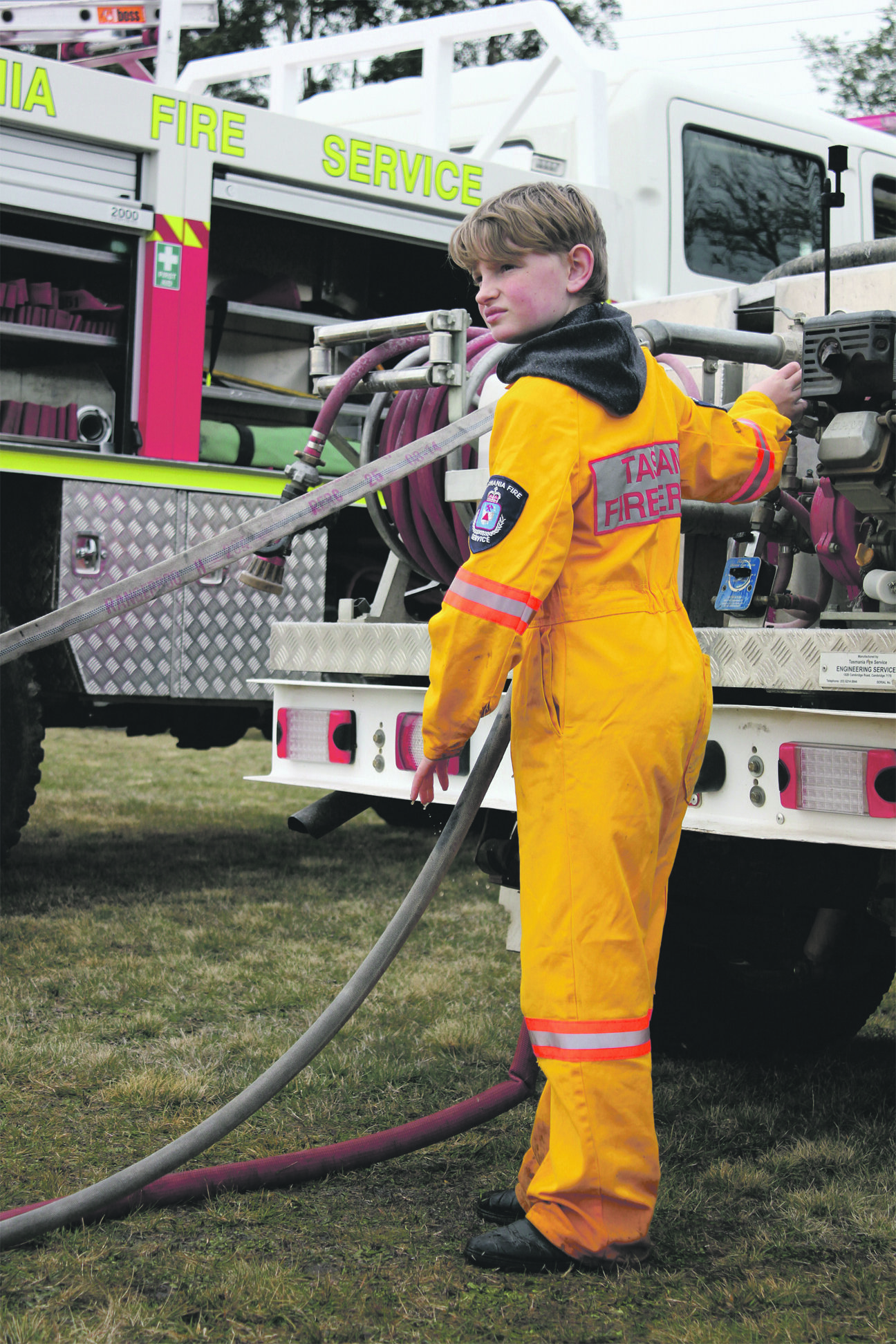 Photo by Hayley Manning  Jordyn Harris, age 10, practising with Meander Fire Brigade for the North West Regional Fun Day Junior and Senior Firefighter Competition.