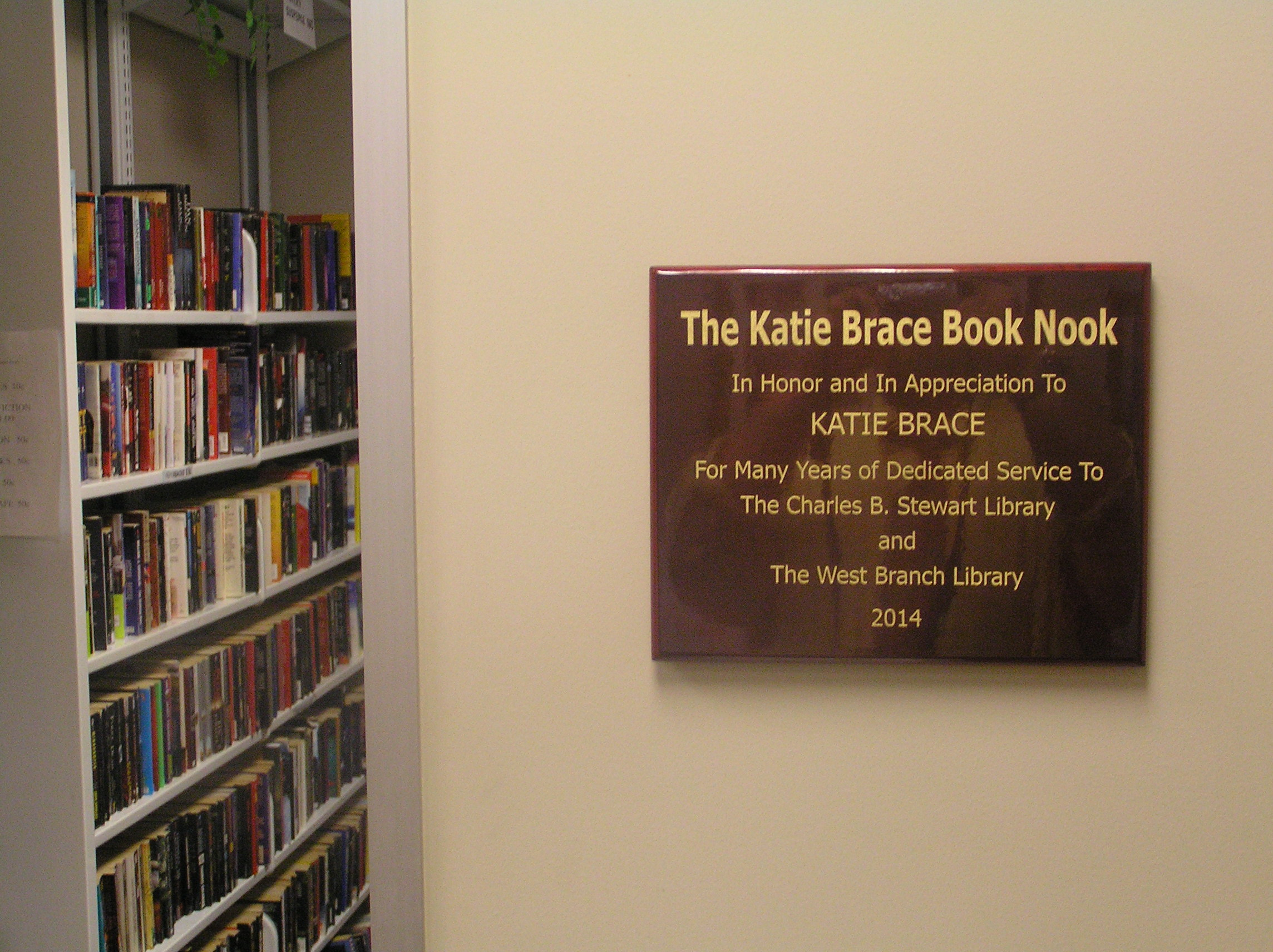 The Katie Brace Book Nook is located in the Charles B. Stewart-West Branch Library