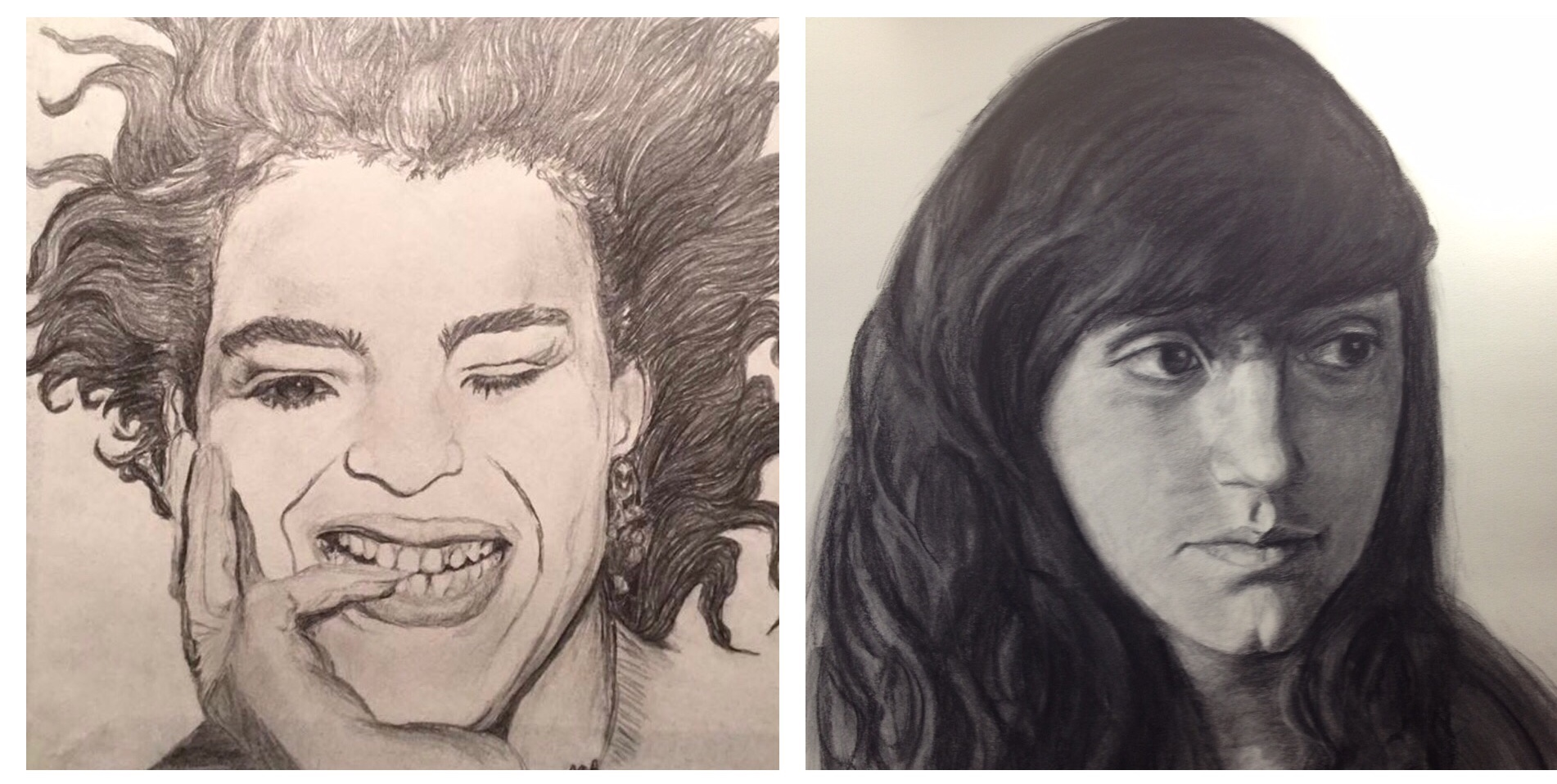 Drawing on the left circa 1986, and on the right 2013
