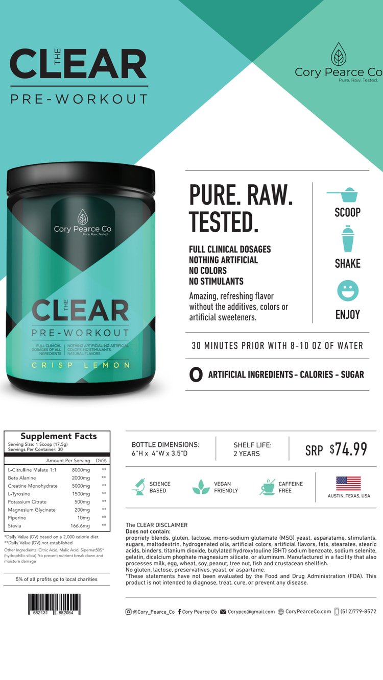 The CLEAR - Pre-workout — Cory Pearce Co