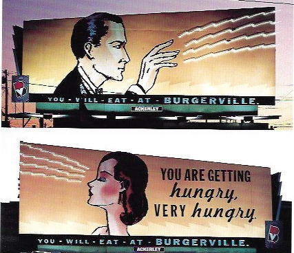 """1993 - Rosey Award Winners: OutdoorBurgerville.""""You Will Eat At Burgerville.""""Agency: Sandstrom Design"""