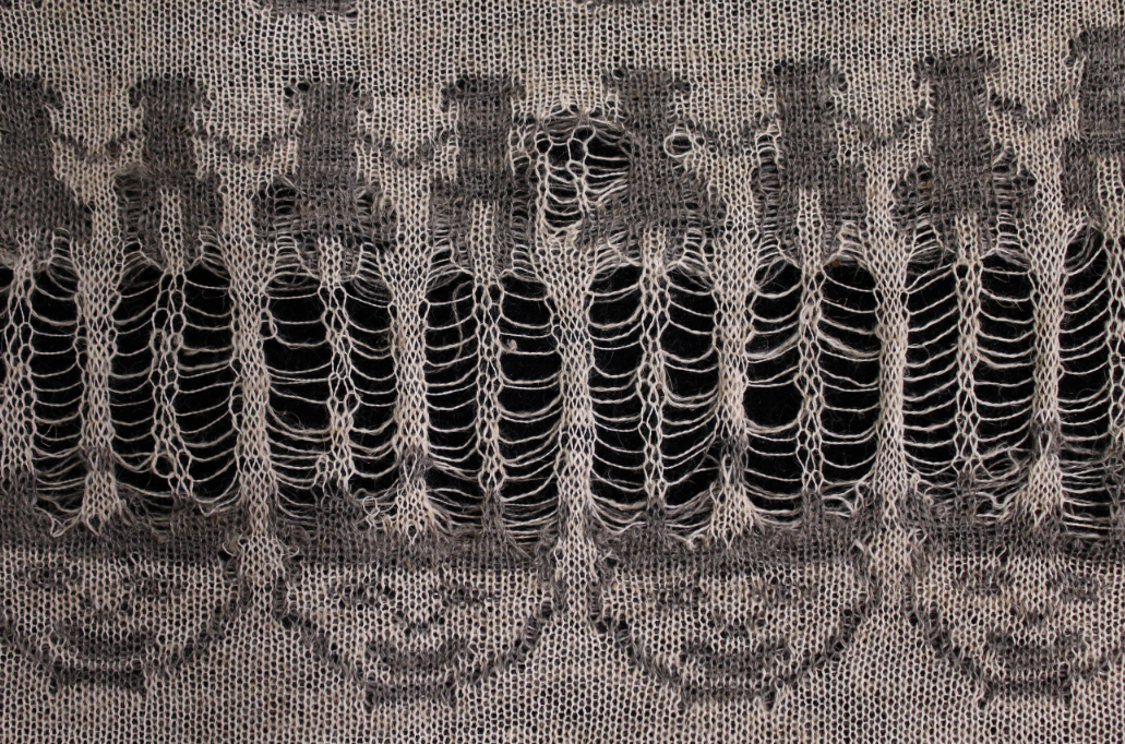 Hemlocked (detail), undyed Peruvian baby alpaca and linen, 2015