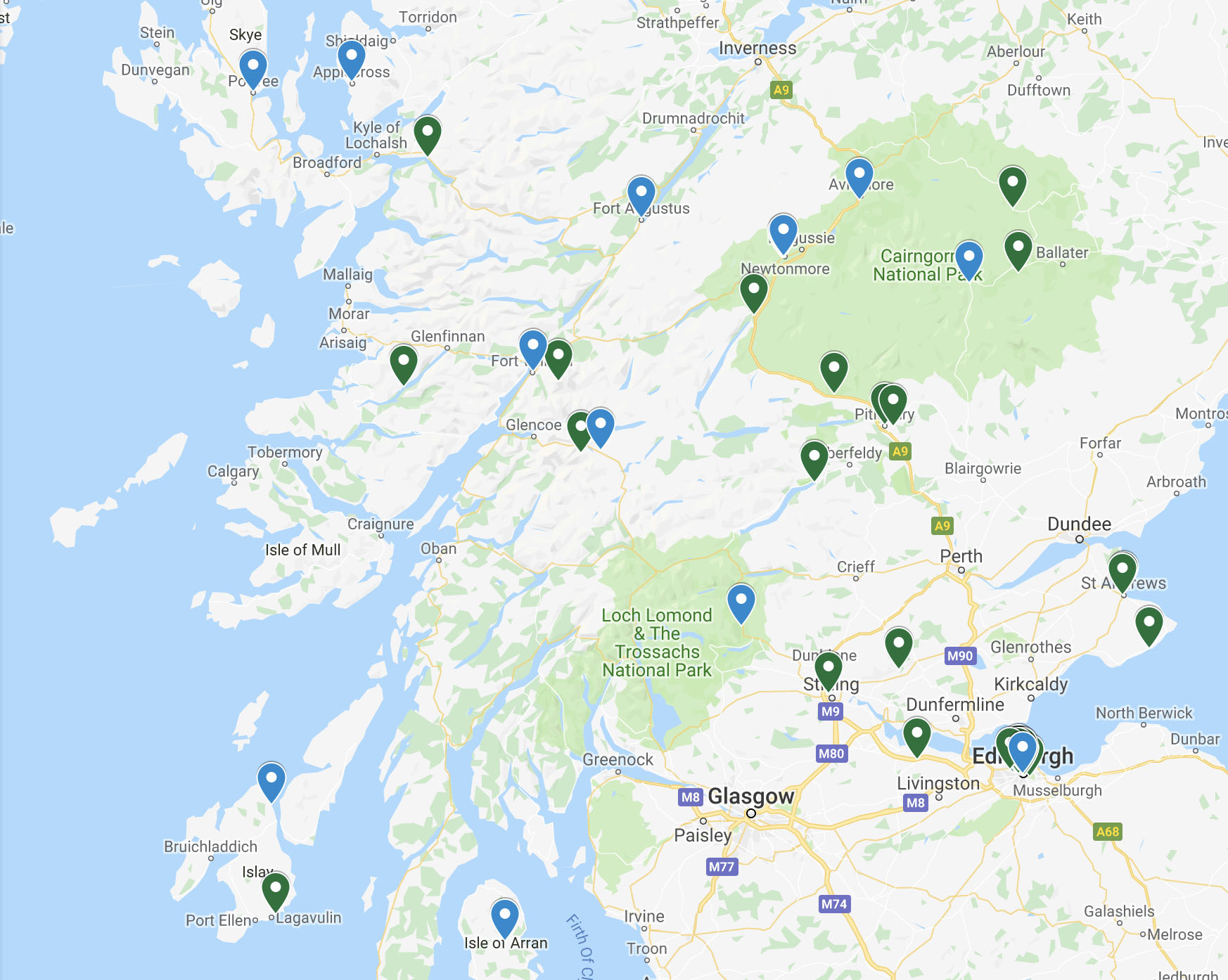 Places to stay and visit in Scotland - Check out our map of good places.