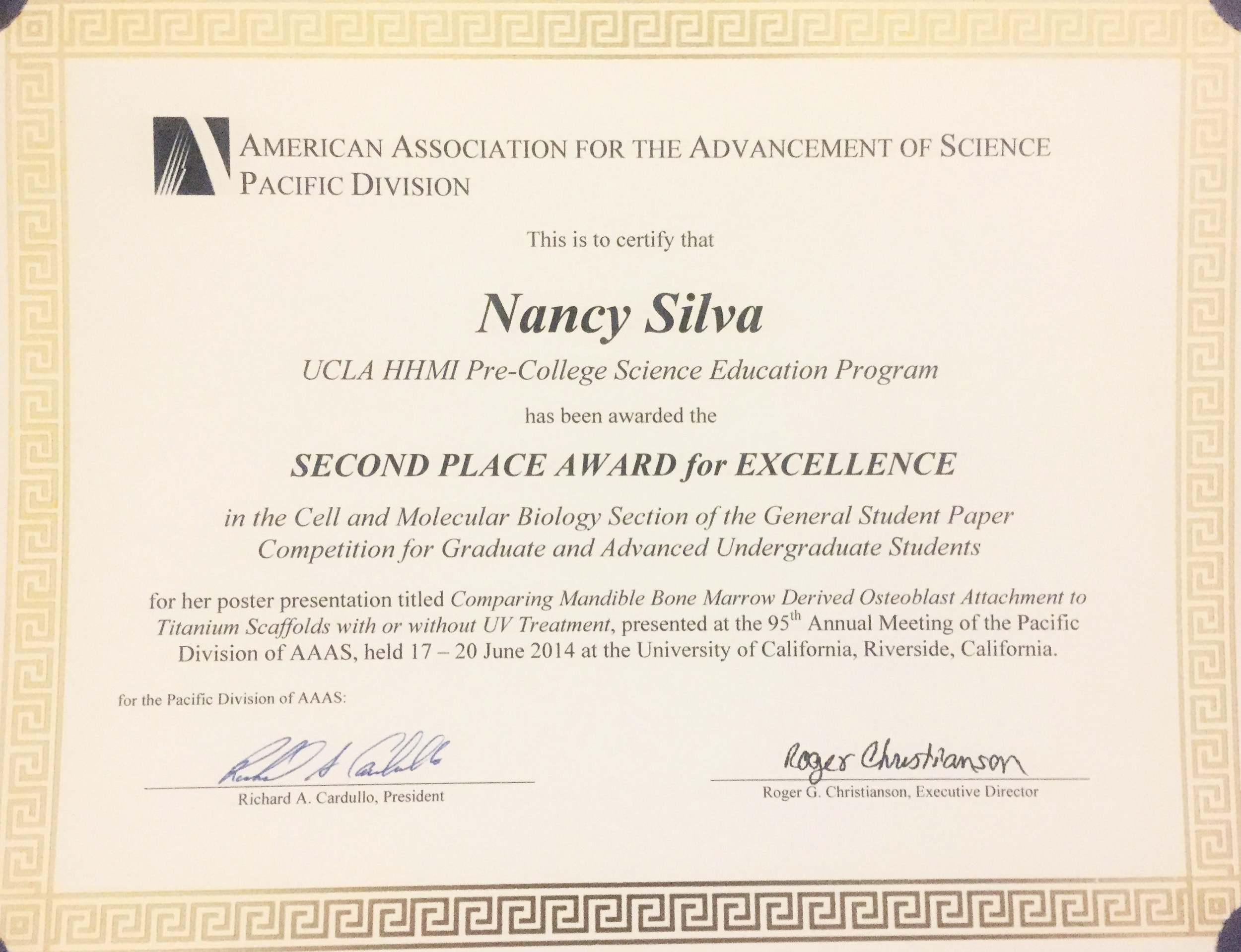 Ms Nancy Silva and Ms Maria Sierra Asian B. Balatan in Ogawa Lab received a Student Award of Excellence at the AAAS (American Association of the Advancement of Science) Pacific Division Annual Meeting held at UC Riverside, taking Second Place in the Cell and Molecular Biology Section.